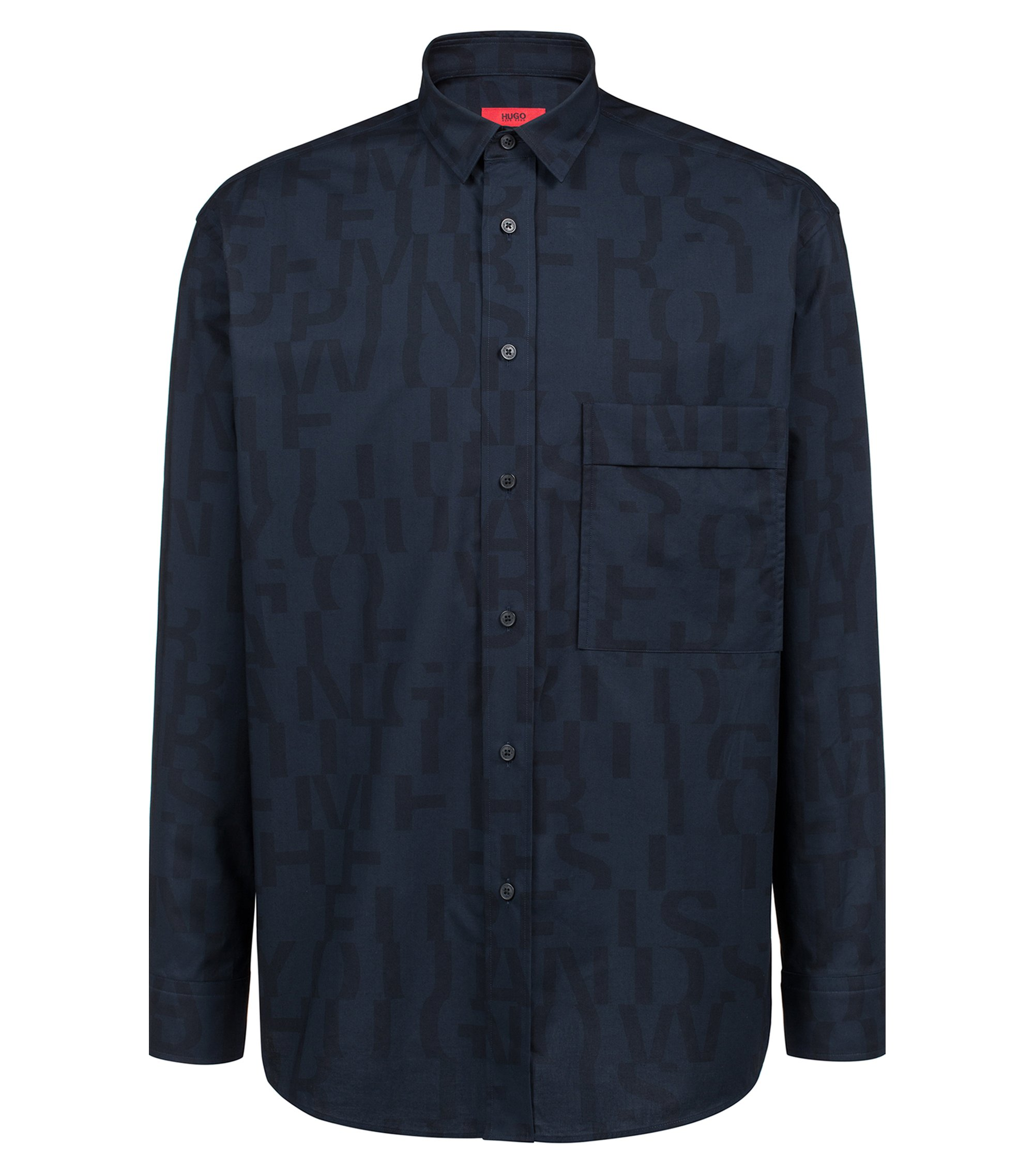 Relaxed-fit cotton shirt with abstract slogan, Dark Blue
