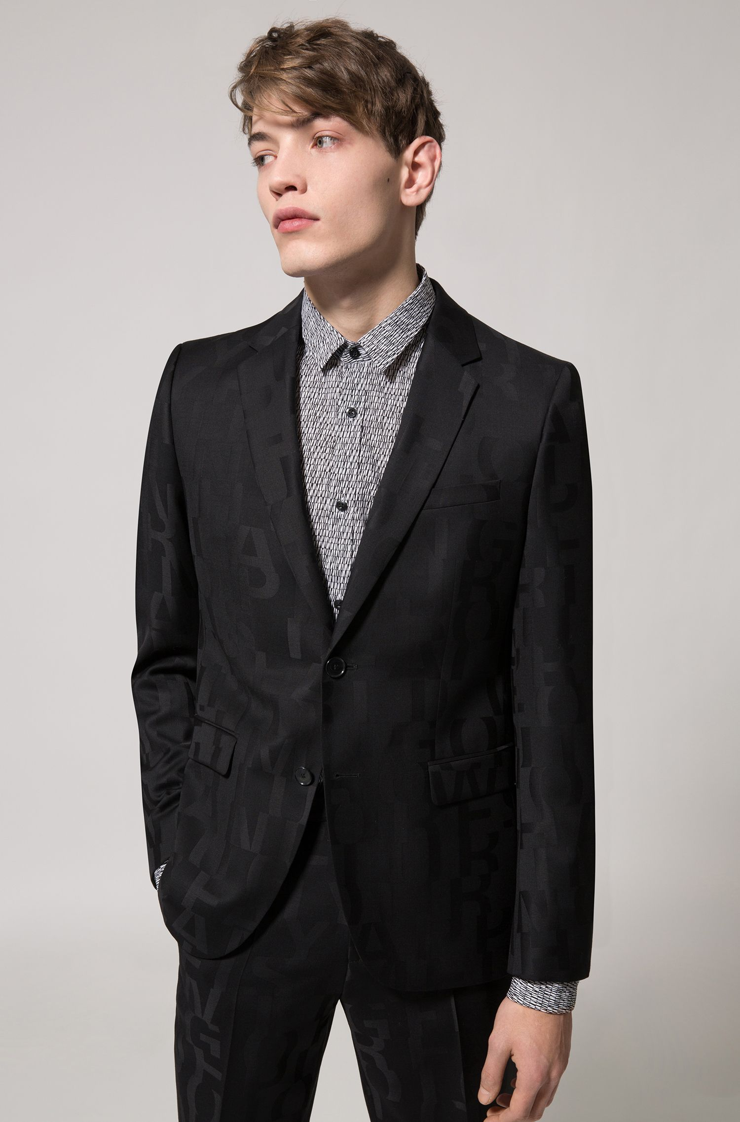 Extra-slim-fit cotton shirt with graphic pigment print, Black