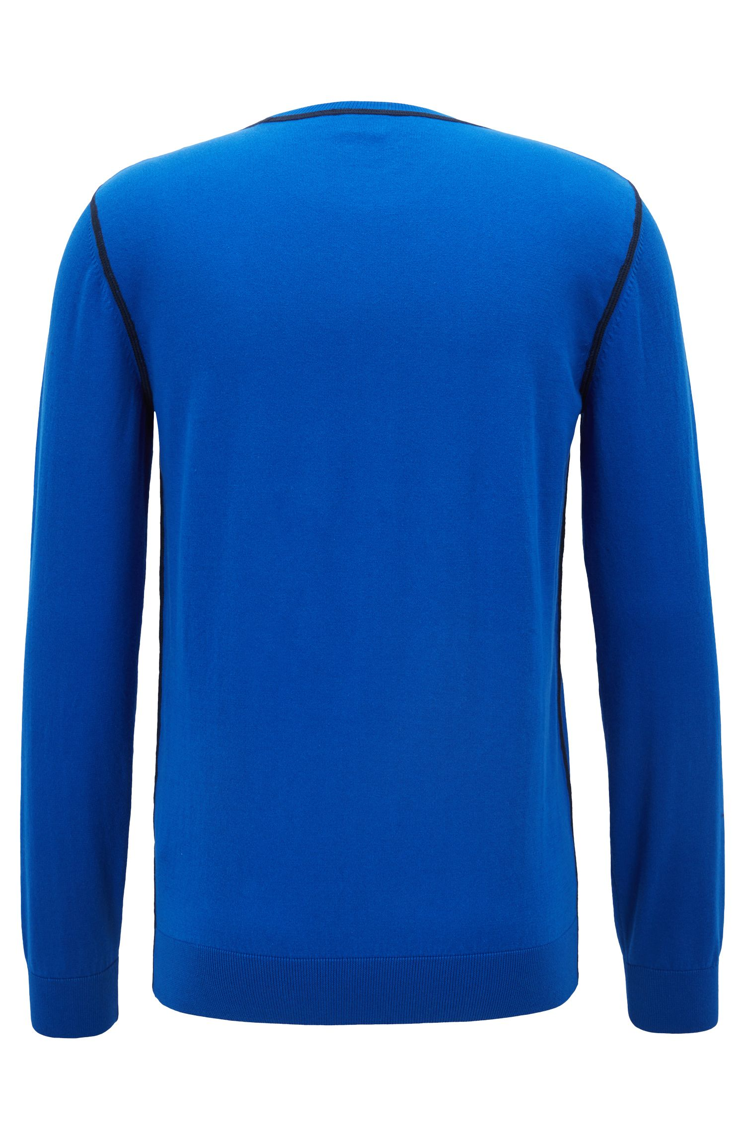 Slim-fit sweater in Egyptian cotton with contrast stitching, Open Blue