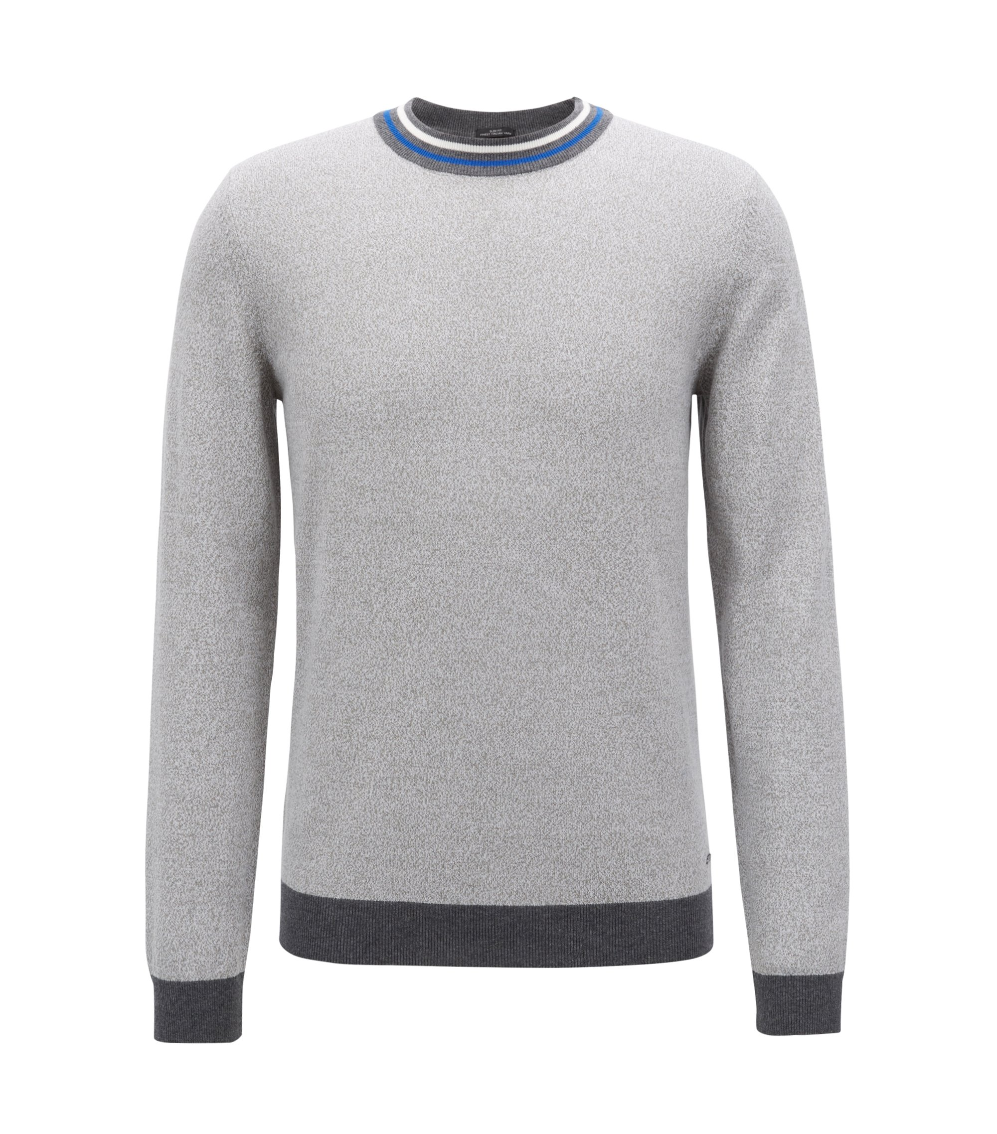 Slim-fit cotton sweater with striped crew neck, Open Grey