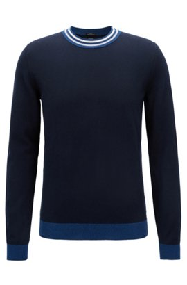 Slim-fit cotton sweater with striped crew neck, Open Blue
