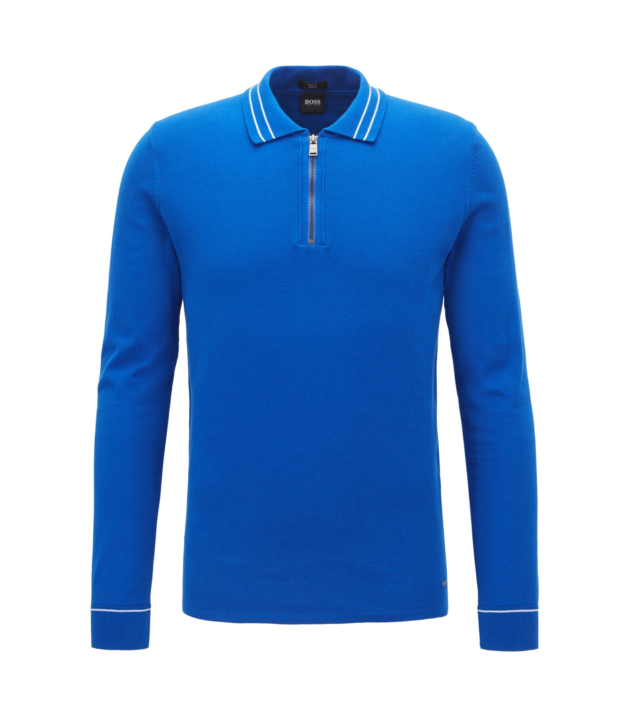 Zipper-neck polo sweater in Egyptian cotton, Open Blue