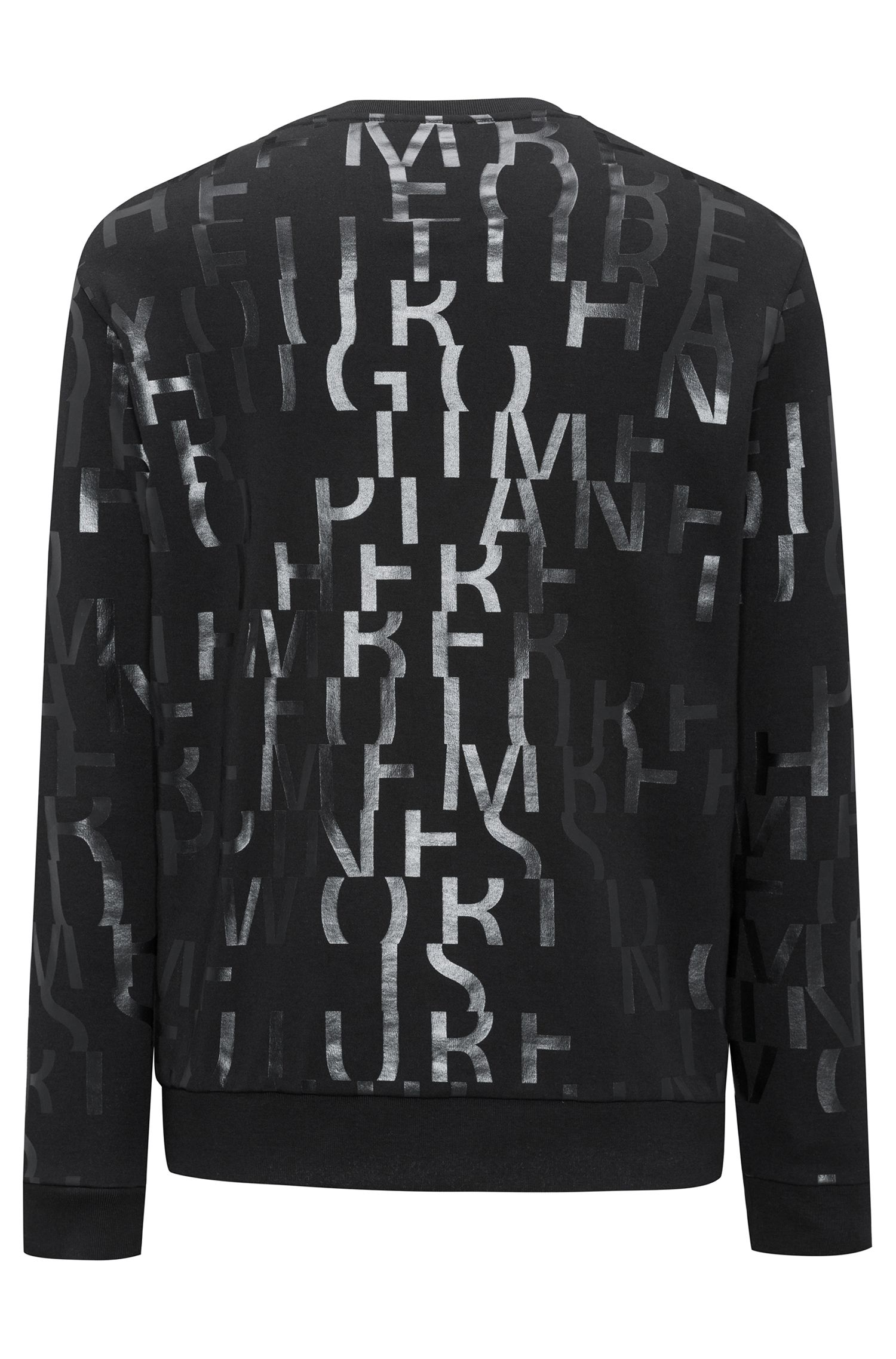 Oversized-fit sweatshirt in pure cotton with abstract slogan