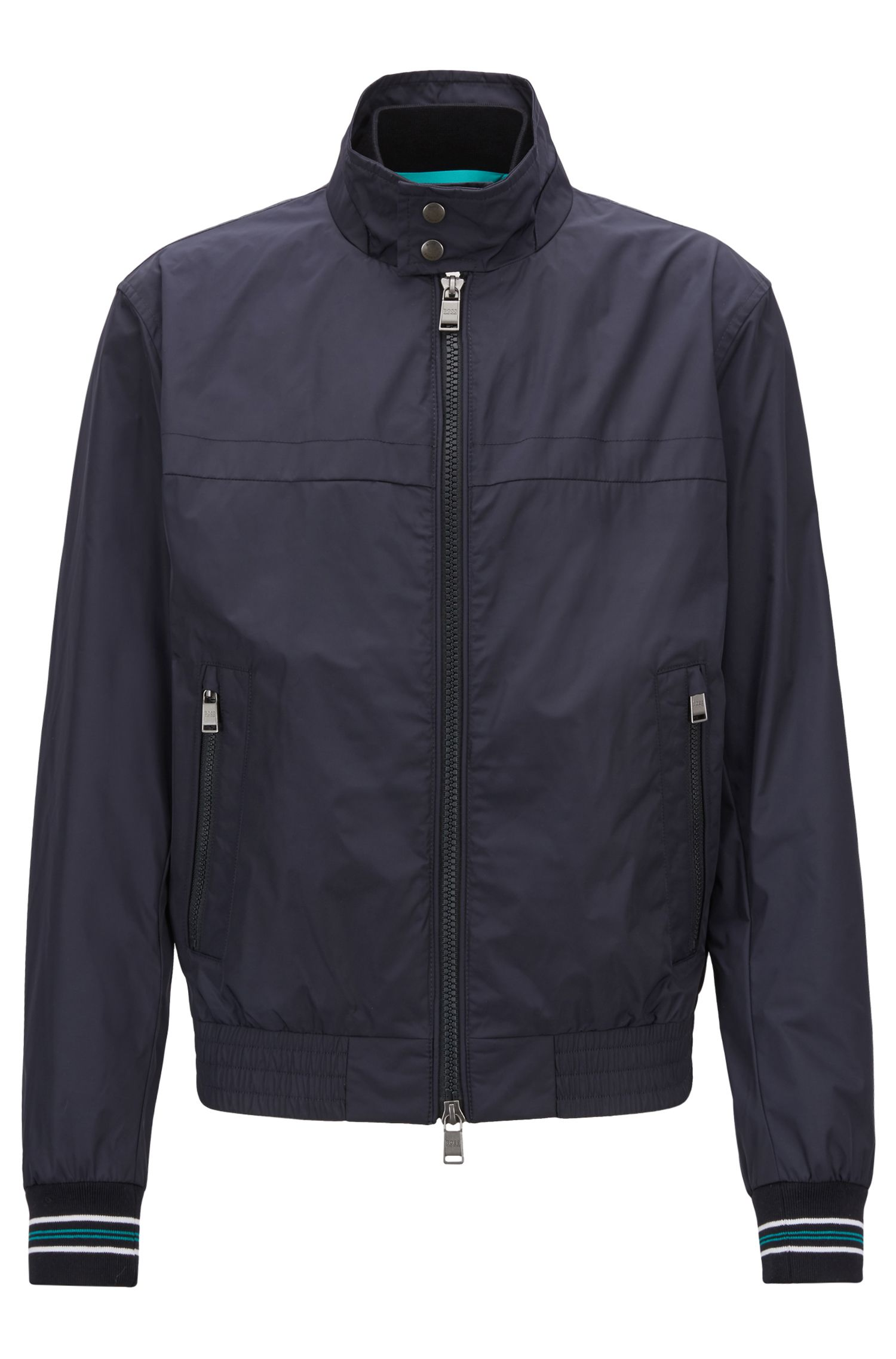 Water-repellent blouson jacket in shape-retaining technical fabric
