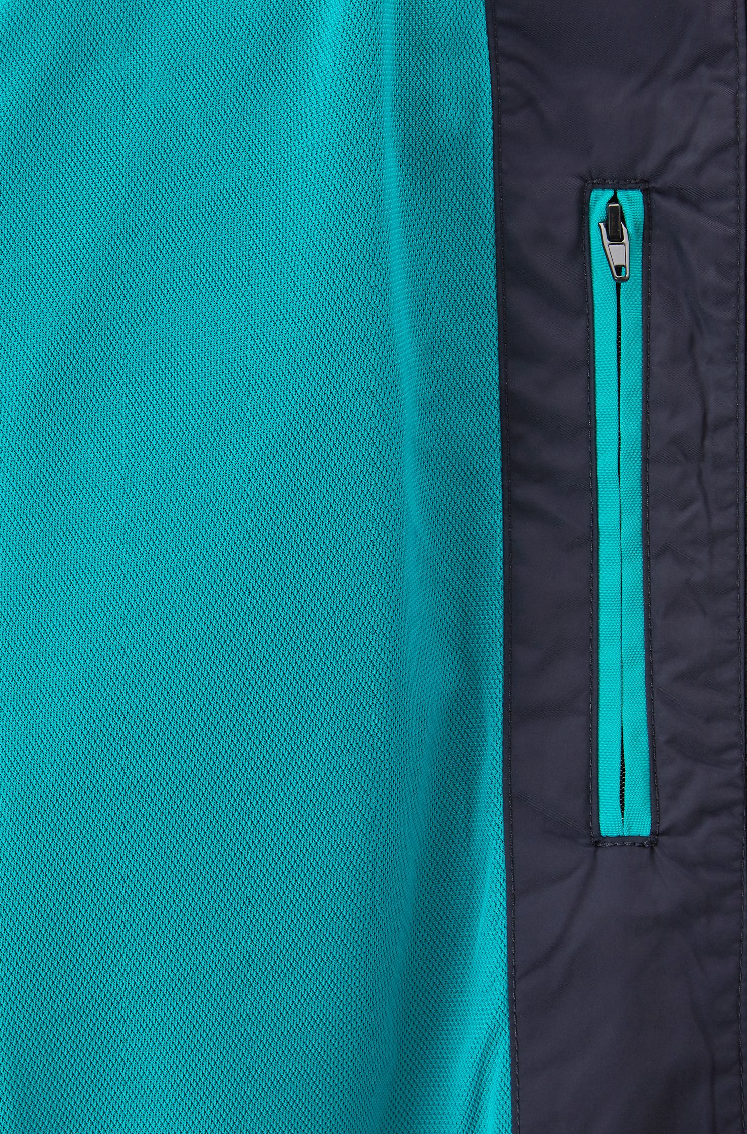 Water-repellent blouson jacket in shape-retaining technical fabric, Open Blue