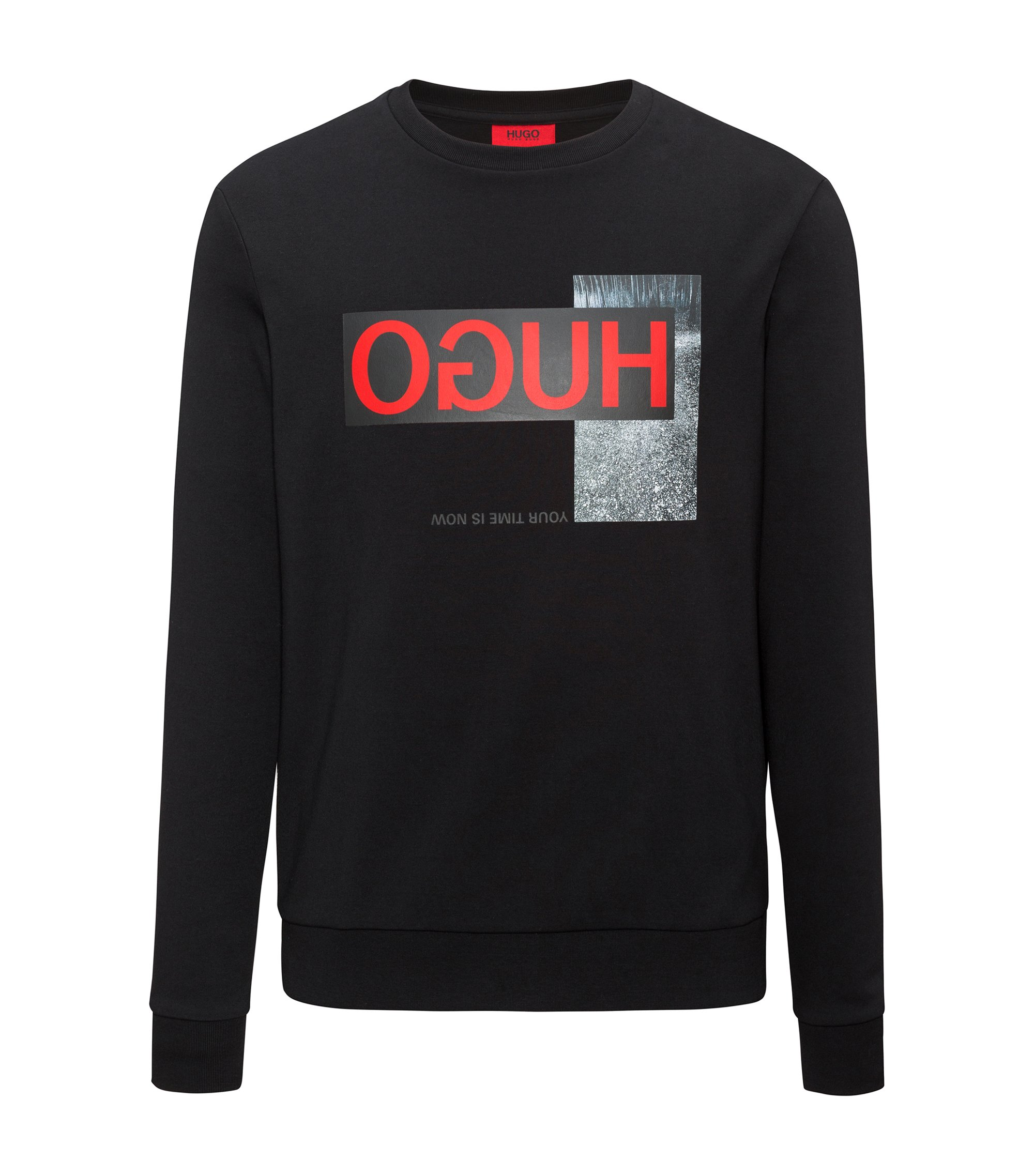 Regular-fit sweatshirt in interlock cotton with reverse logo, Black