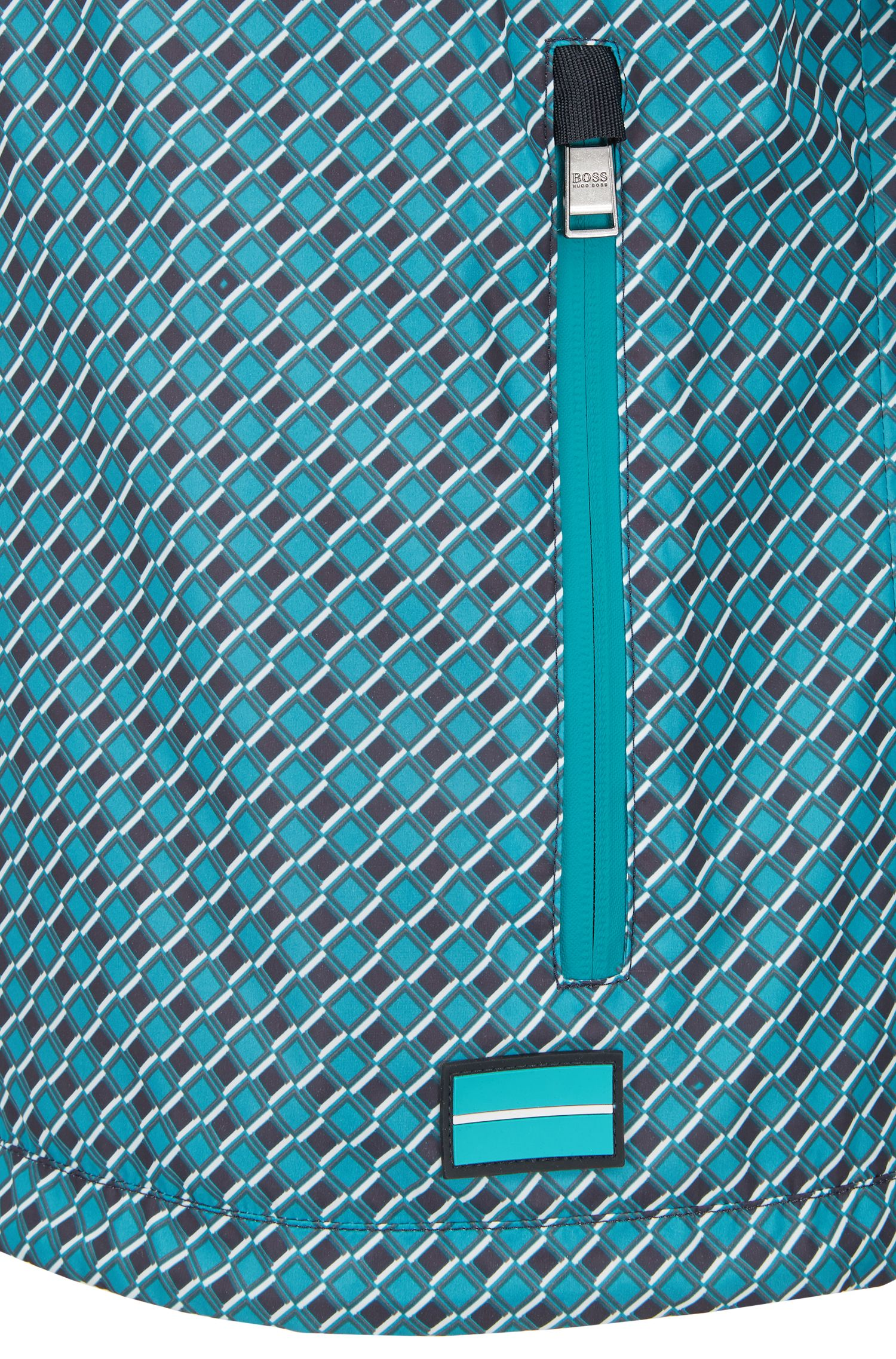 Windbreaker jacket in water-repellent fabric with geometric print, Green