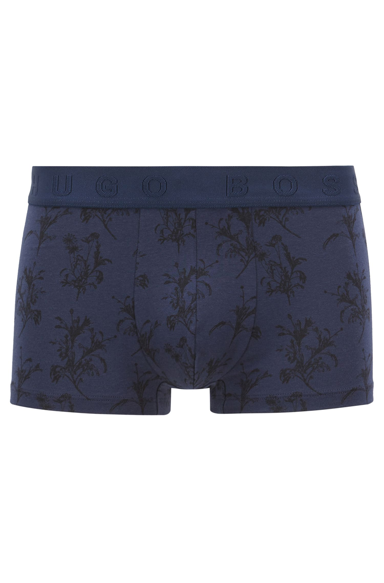 Stretch jersey trunks with all-over floral print, Open Blue