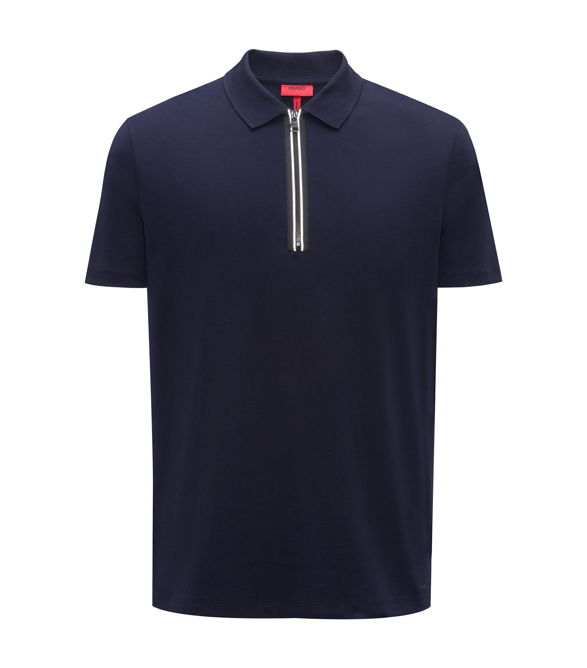 Polo shirt in interlock cotton with contrast zipper detail, Dark Blue