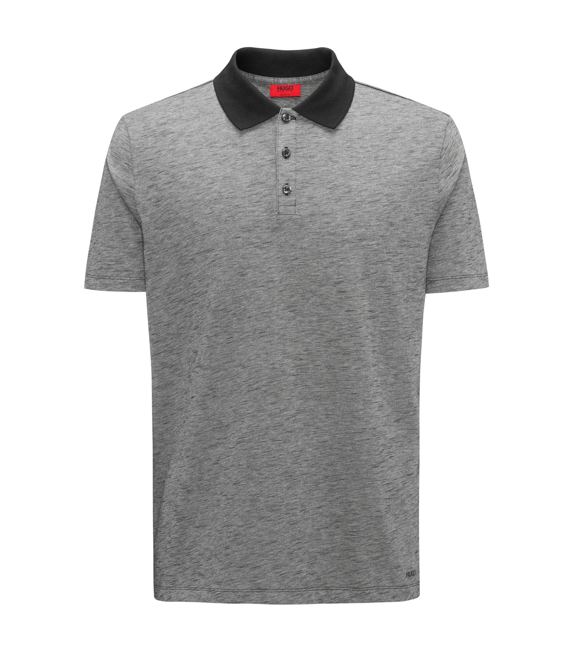 Polo shirt in cotton piqué with contrast collar, Black