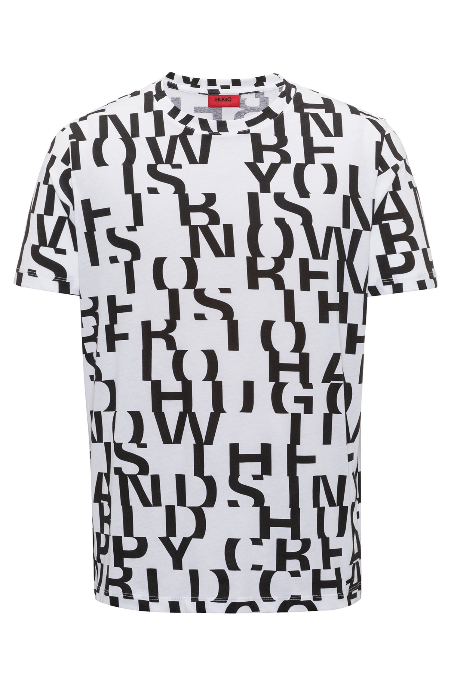 Cotton T-shirt with abstract slogan motif, White