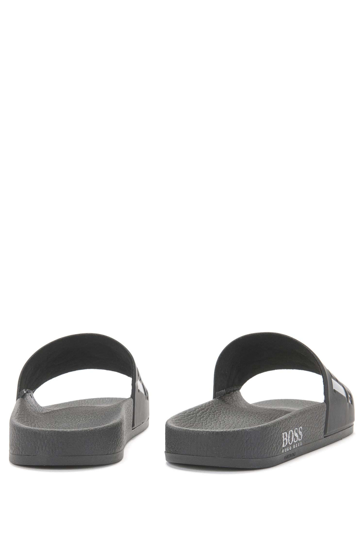 Italian-made rubber slider sandals with contrast logo