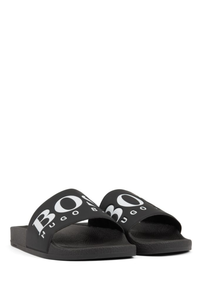 Italian-made rubber slide sandals with contrast logo