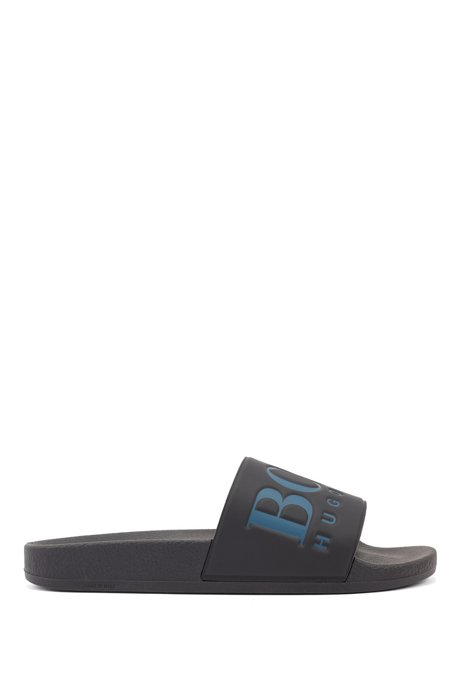 Italian-made rubber slide sandals with contrast logo, Black