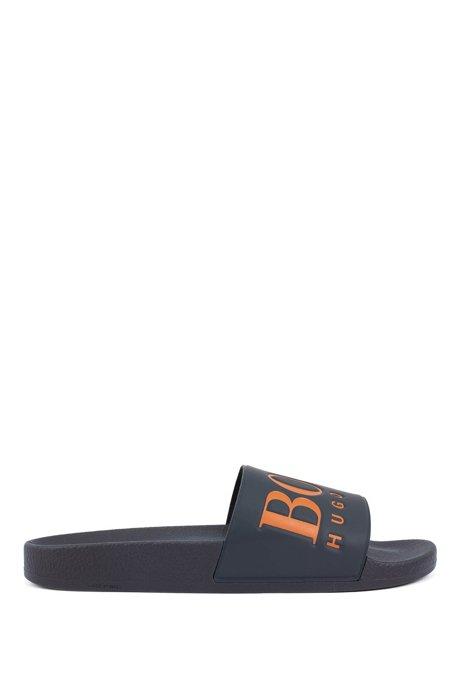 Italian-made rubber slide sandals with contrast logo, Dark Blue