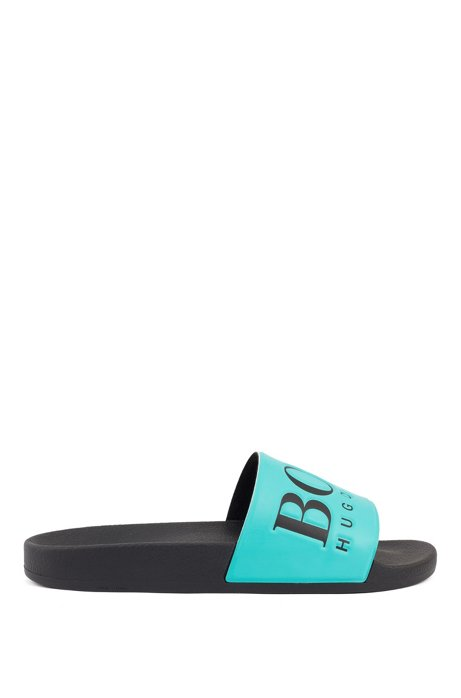 Italian-made rubber slide sandals with contrast logo, Turquoise