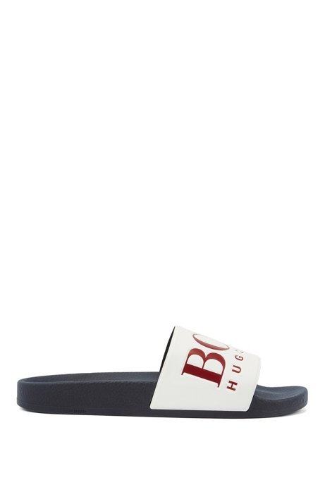 Italian-made rubber slide sandals with contrast logo, Open Blue