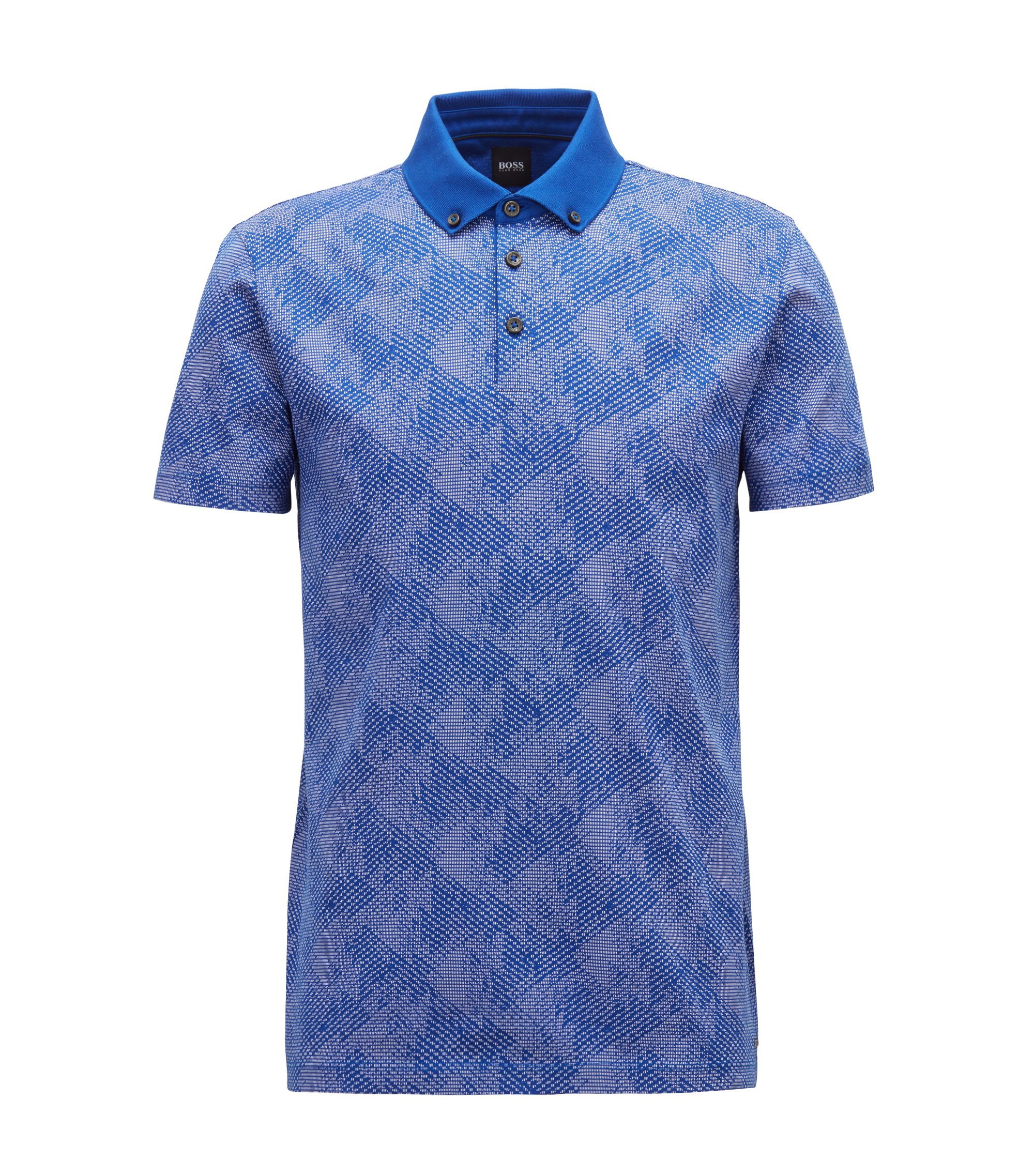 Slim-fit polo shirt in climbing-inspired cotton jacquard, Open Blue