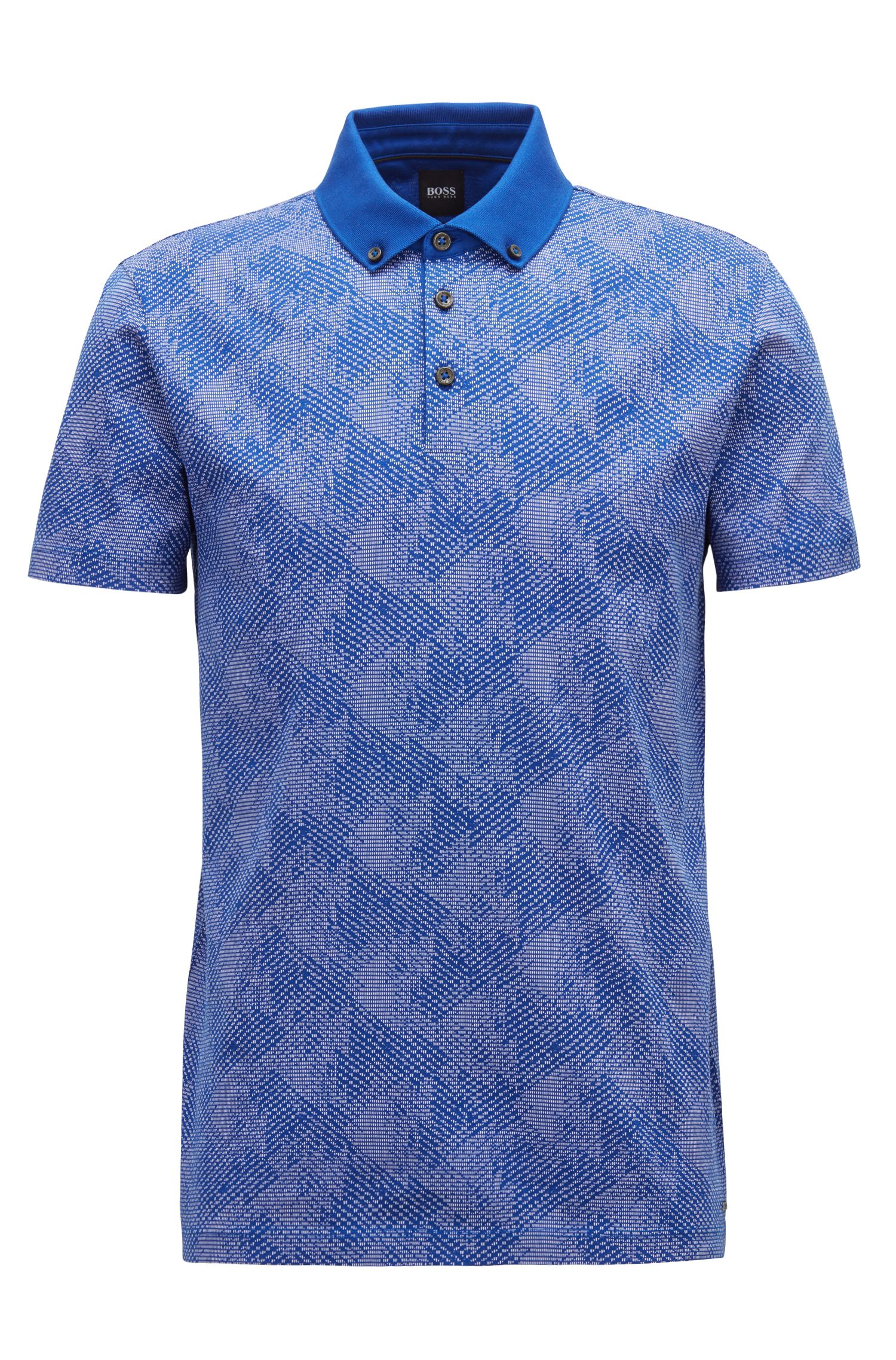 Slim-fit polo shirt in climbing-inspired cotton jacquard