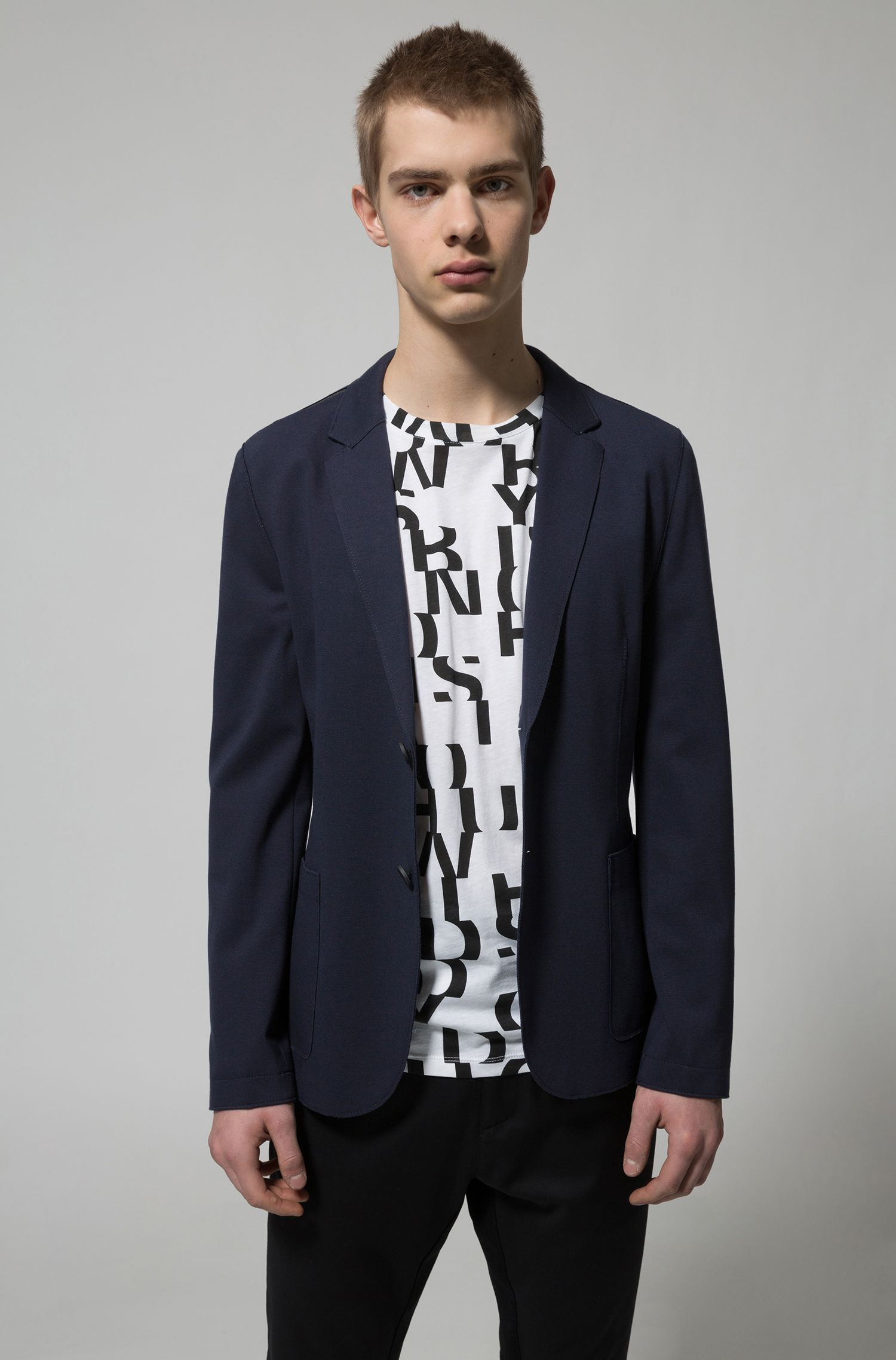 Slim-fit blazer with contrast shoulder panels, Dark Blue