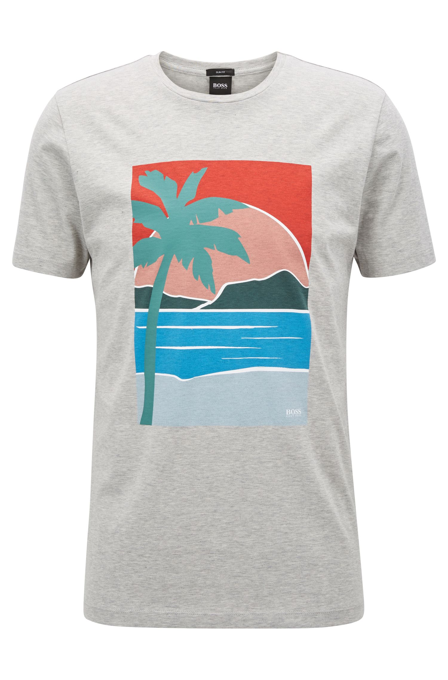 Slim-fit T-shirt with placed summer print, Open Grey