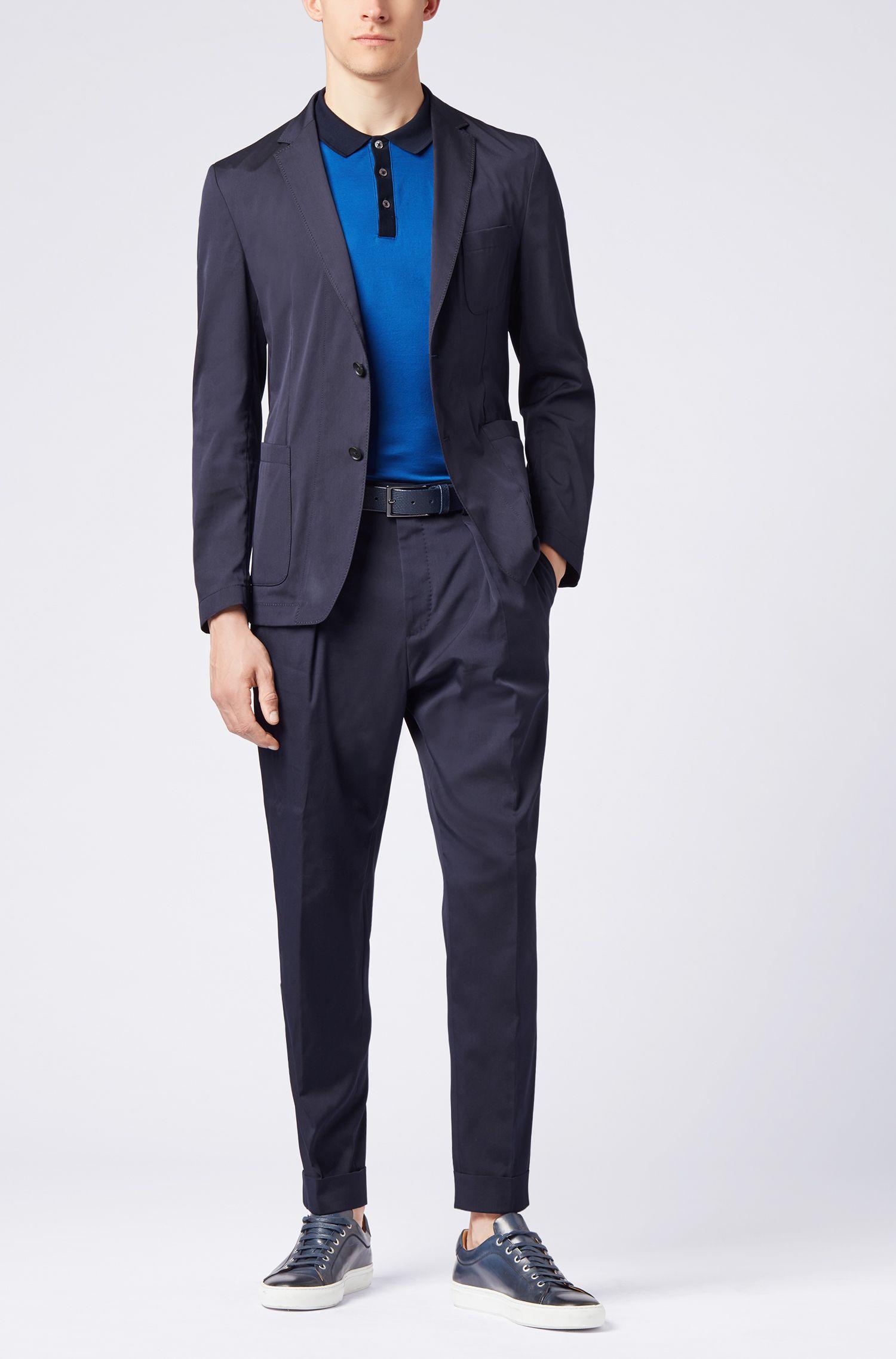 Slim-fit polo shirt in mercerized cotton, Open Blue