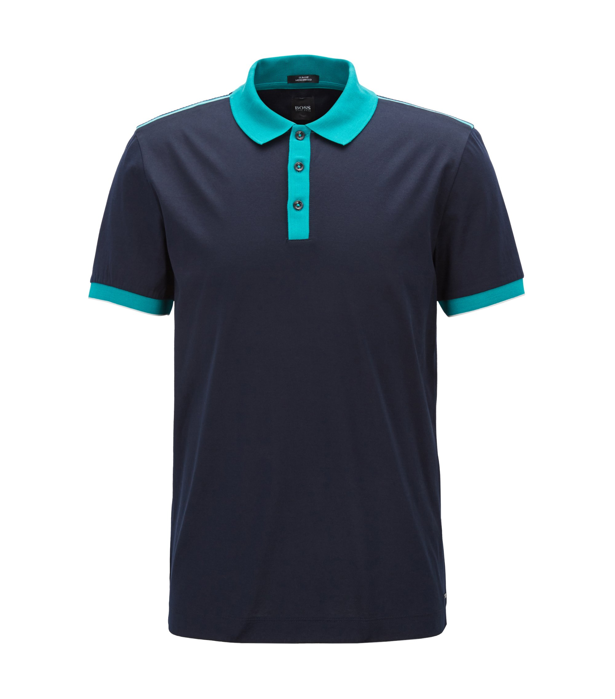 Slim-fit polo shirt in mercerized cotton, Open Blue