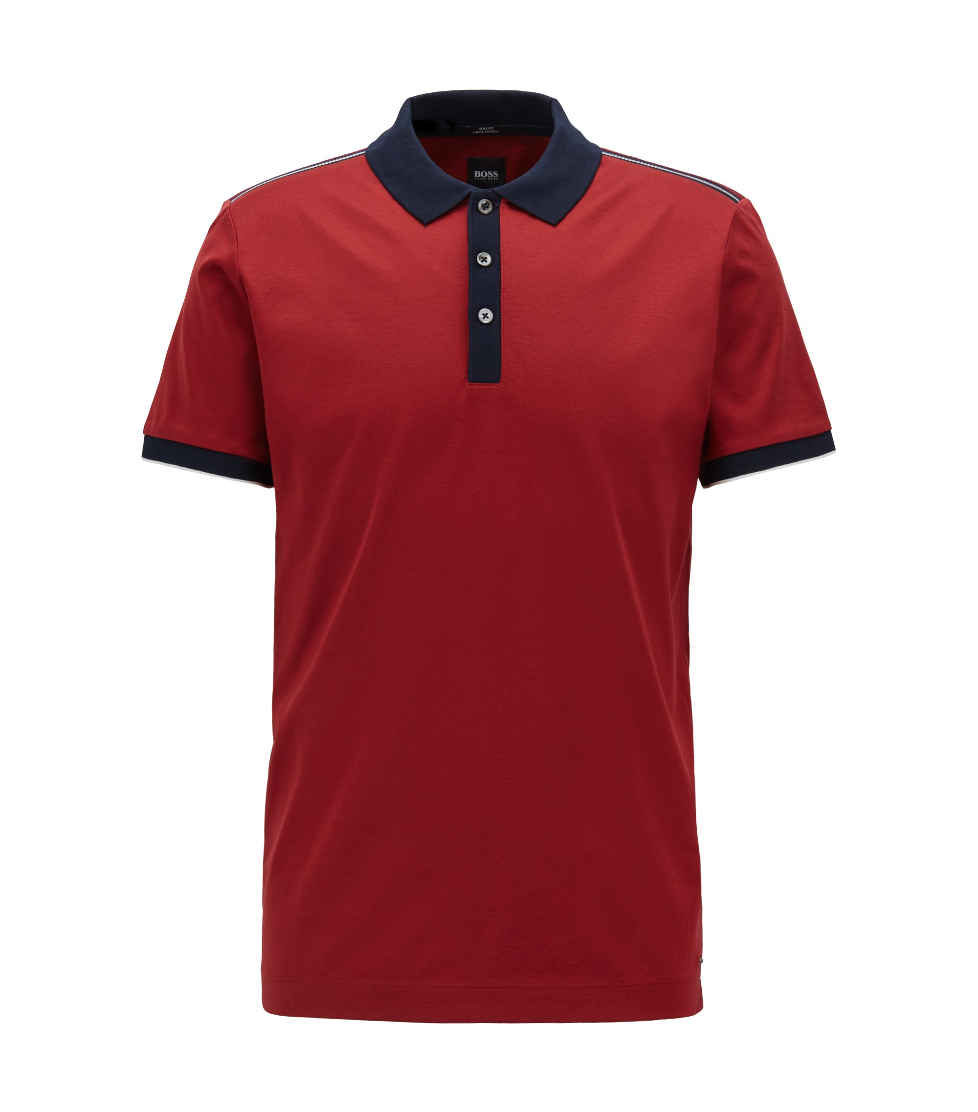 Slim-fit polo shirt in mercerized cotton, Red