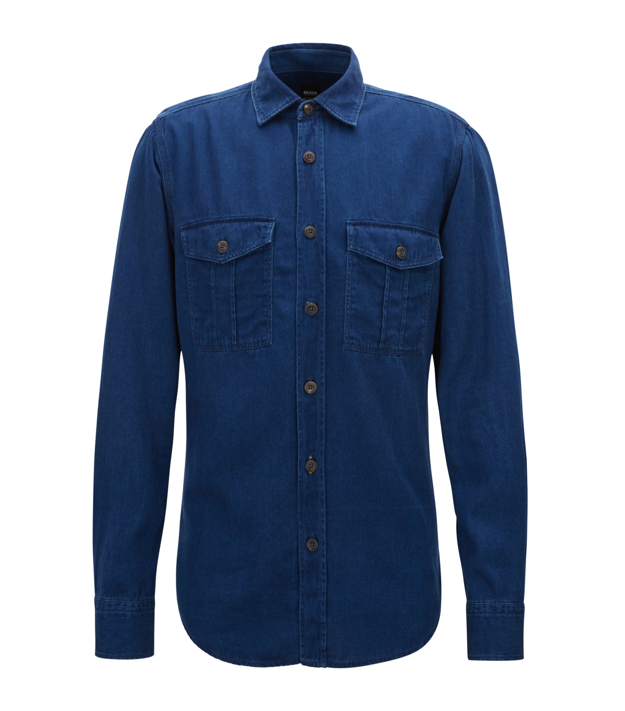Regular-fit twill shirt with washed finish, Dark Blue