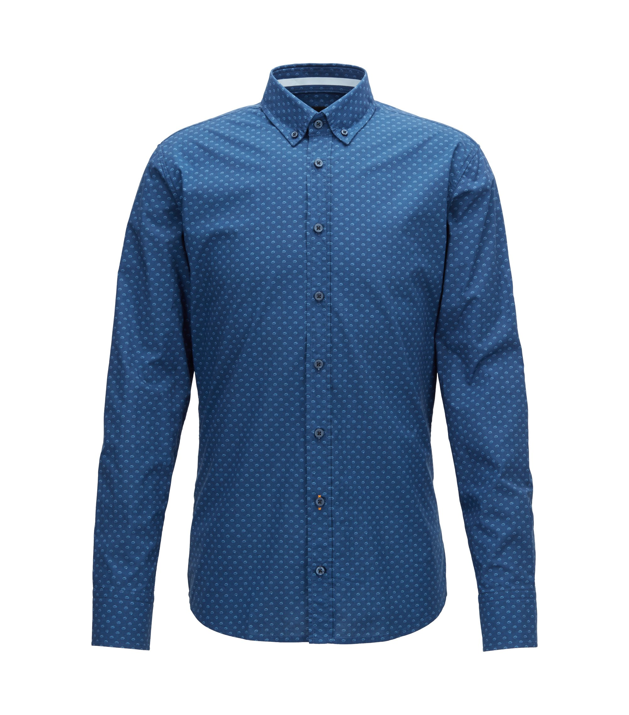 Slim-fit shirt in digitally printed cotton voile, Dark Blue