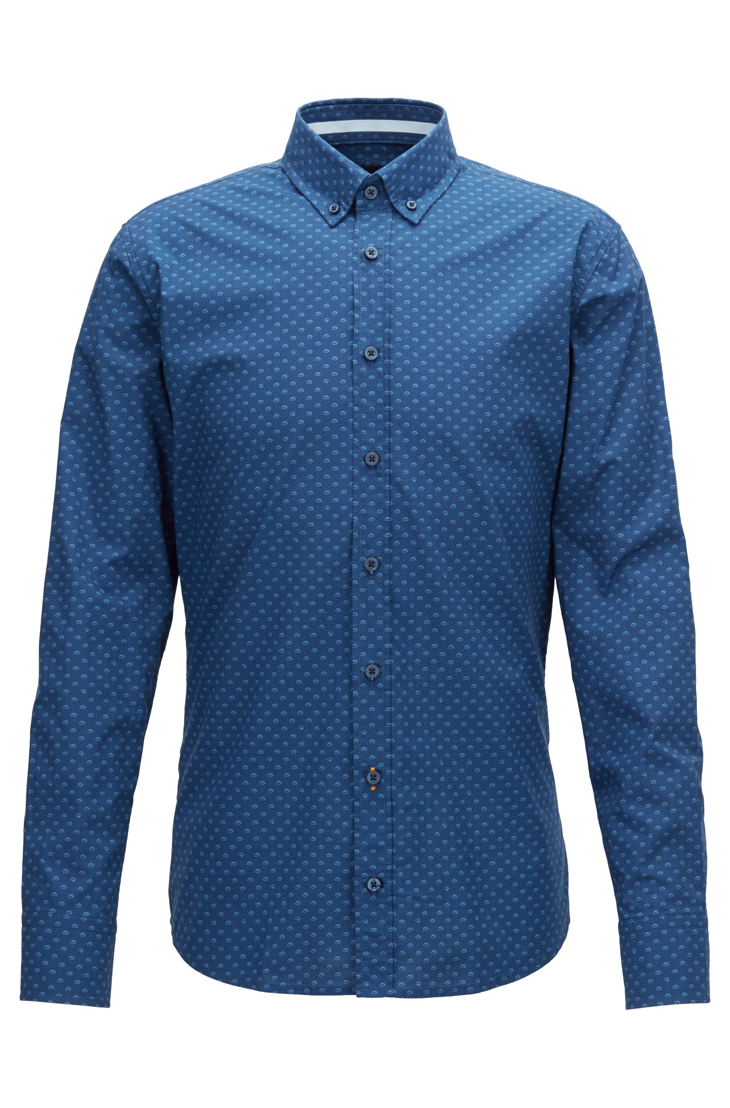 Slim-fit shirt in digitally printed cotton voile