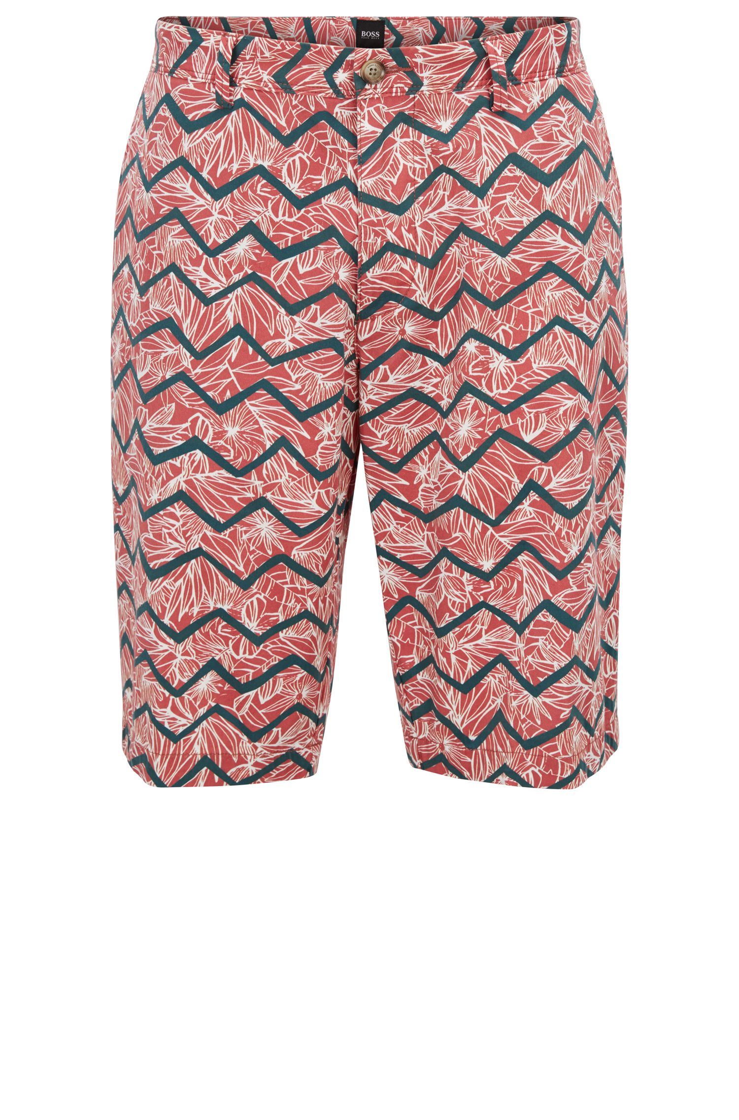 Chino shorts in digital-print stretch cotton