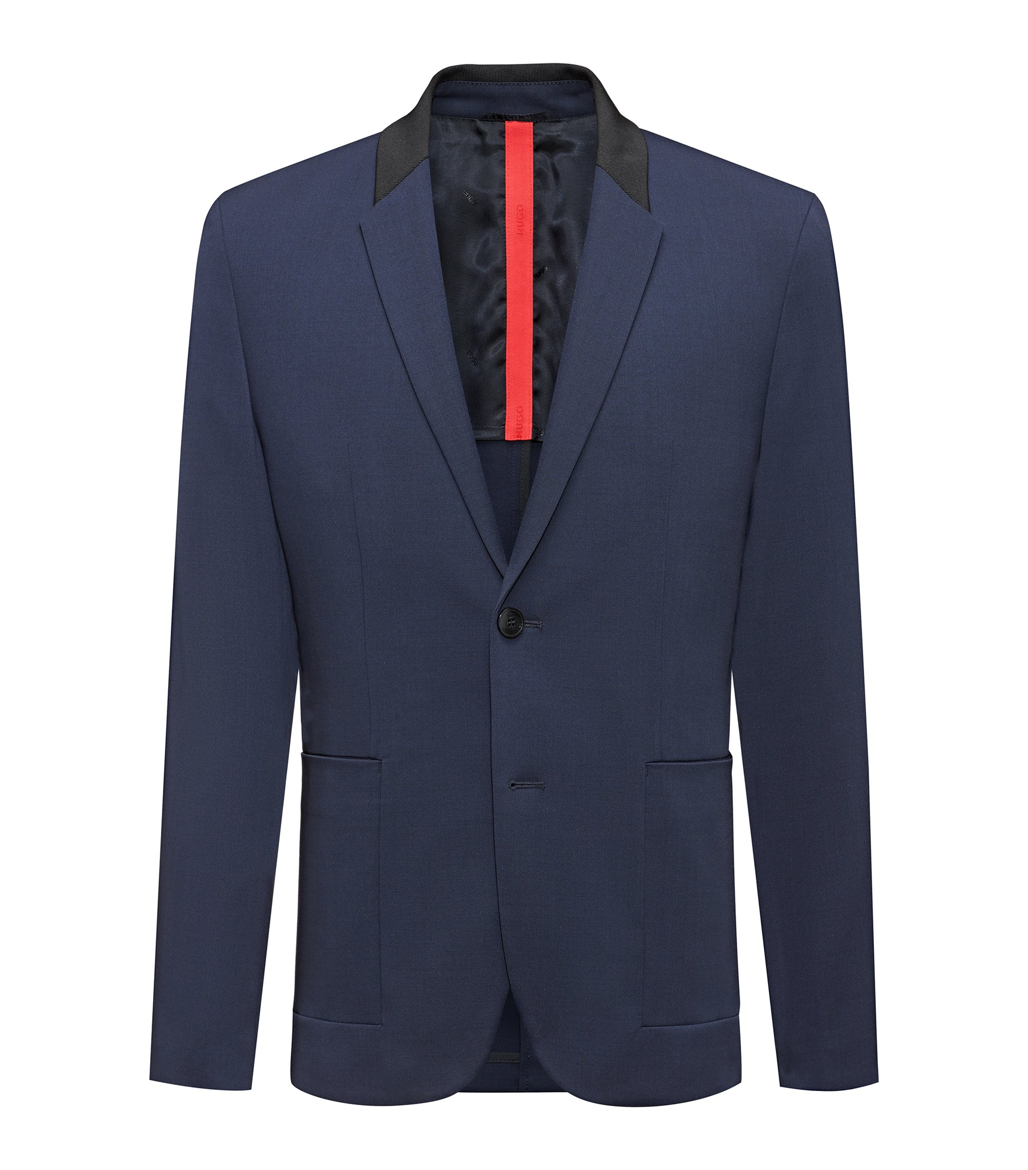 Regular-fit jacket in technical fabric with contrast collar, Dark Blue