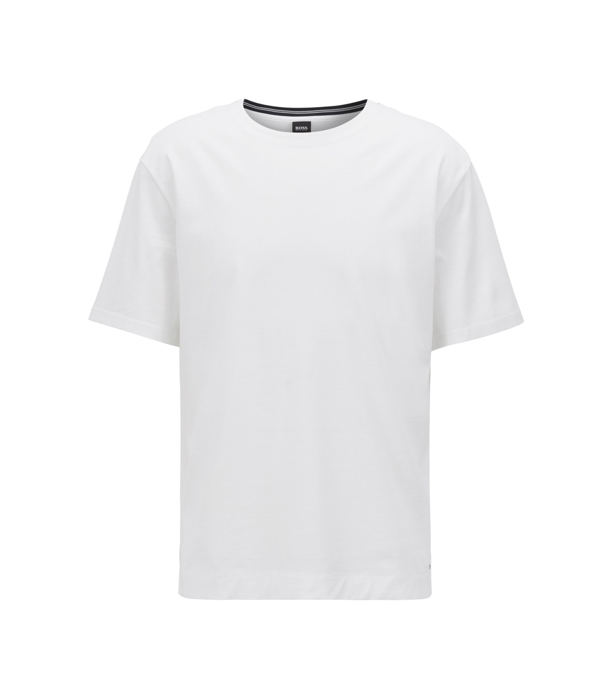Mercerized-cotton T-shirt with contrast collar band, White
