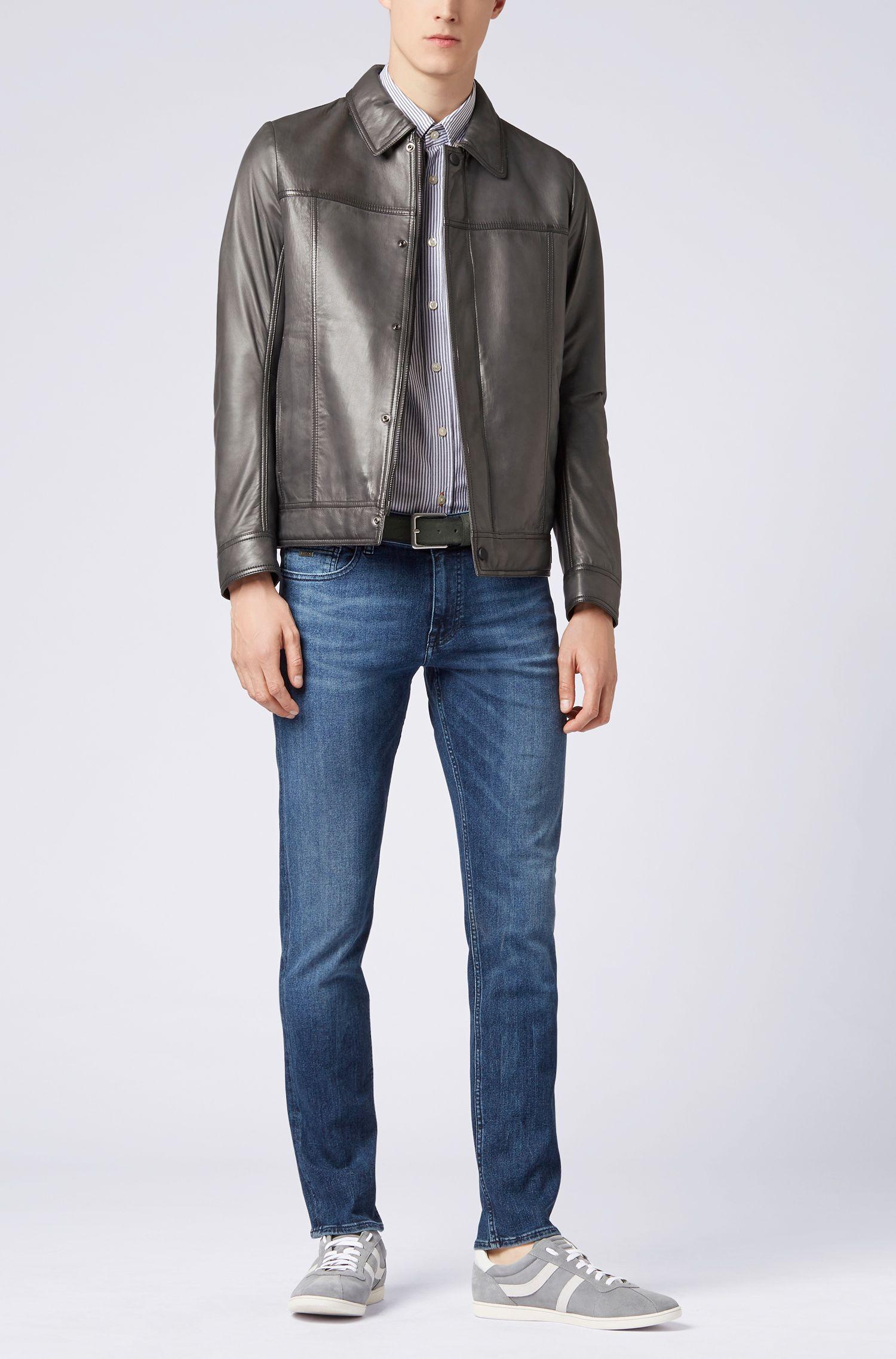 Slim-fit striped washed cotton Oxford shirt, Dark Blue
