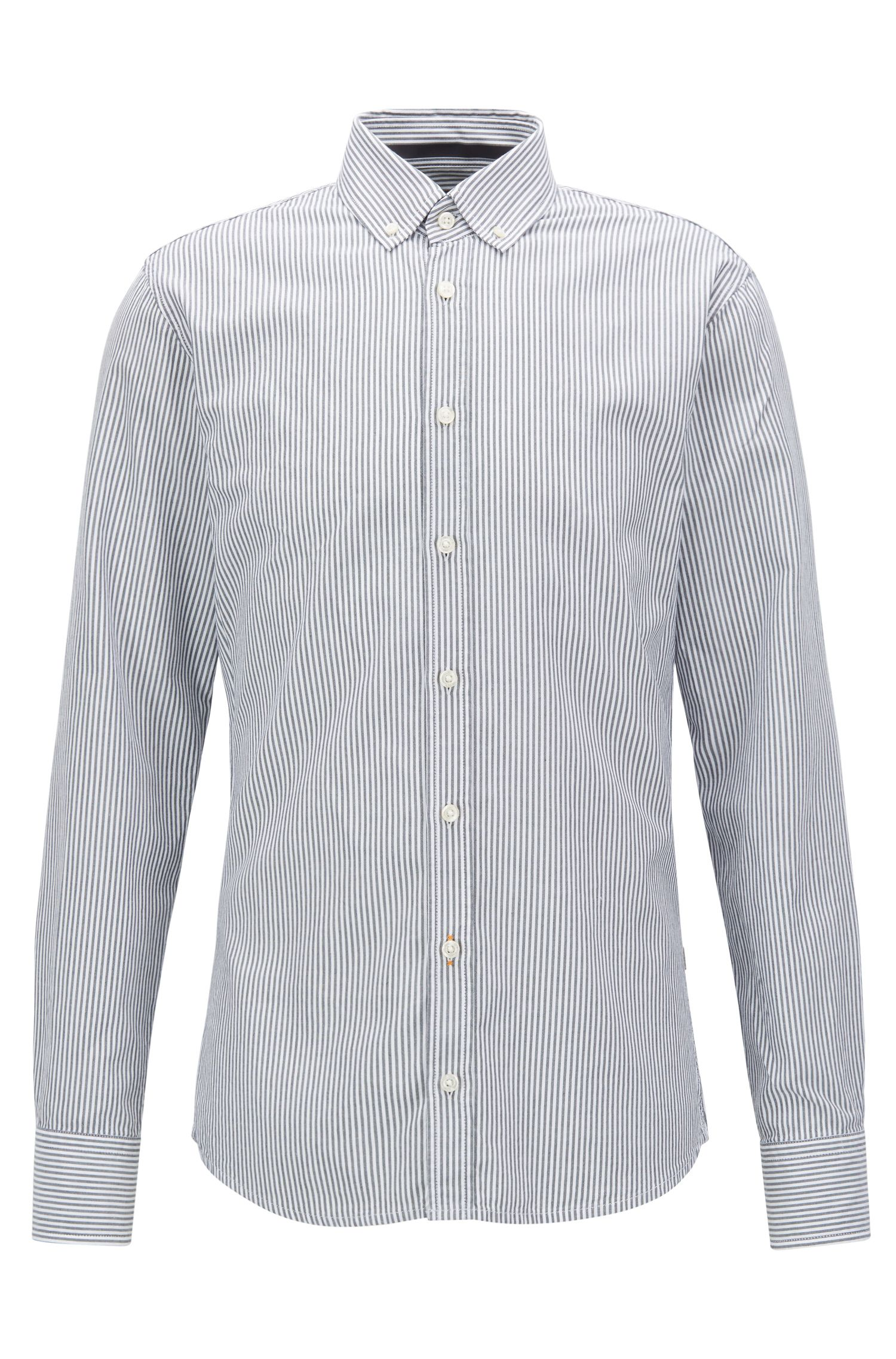 Slim-fit striped washed cotton Oxford shirt