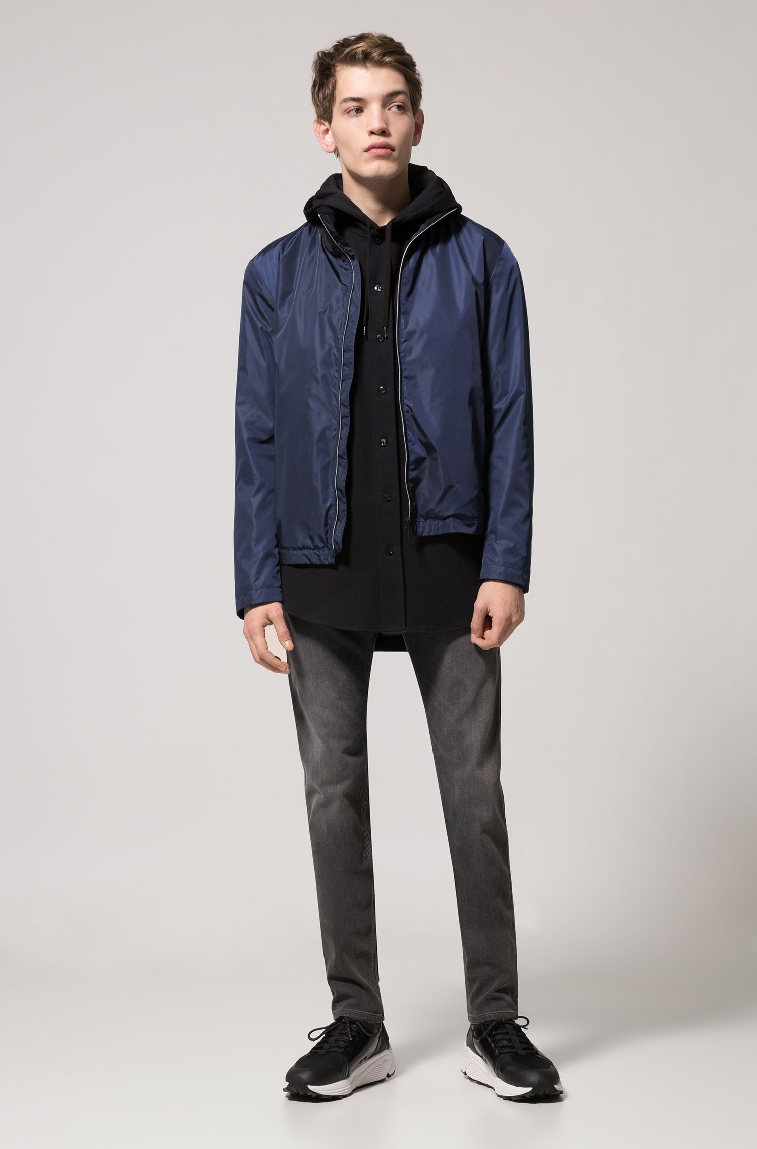 Technical bomber jacket with water-repellent finish, Dark Blue