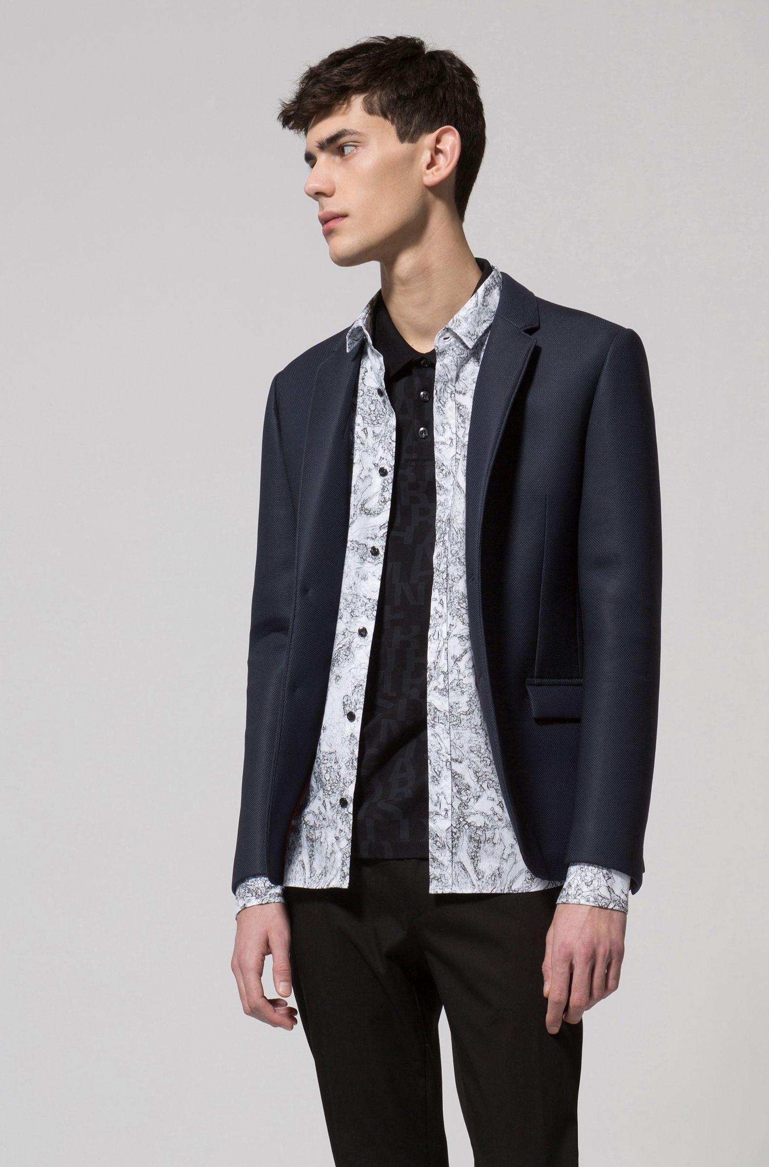Cotton piqué polo shirt with all-over slogan print, Black