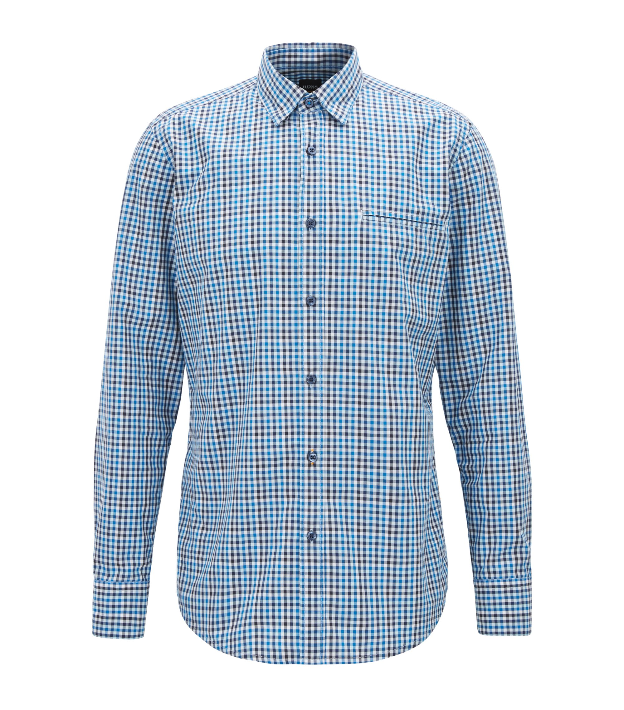 Regular-fit shirt in cotton with Vichy check, Blue