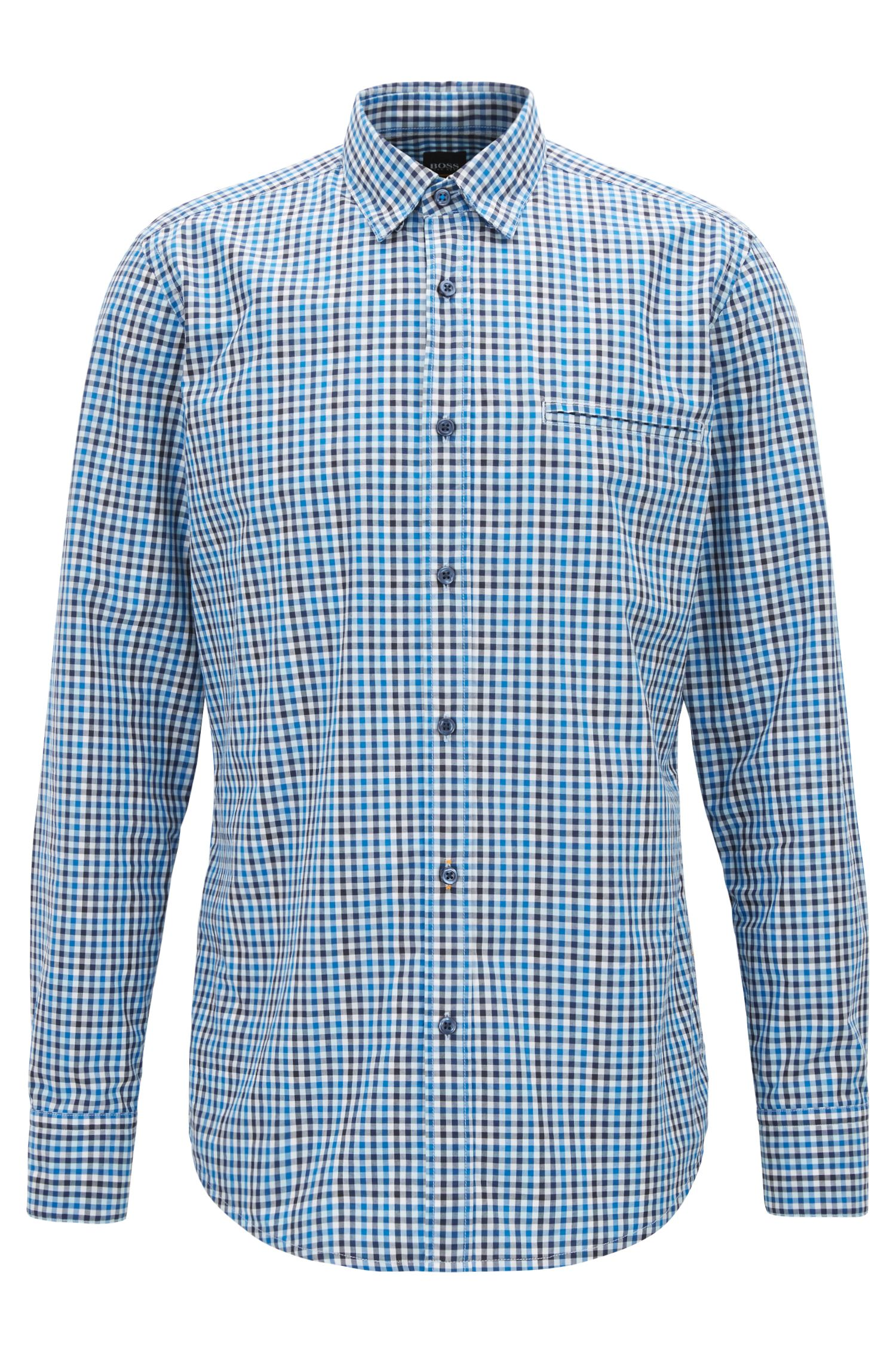 Regular-fit shirt in cotton with Vichy check
