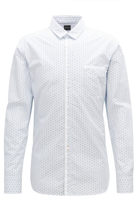Slim-fit striped shirt in washed cotton BOSS Clearance Browse Clearance Outlet Store Sale Looking For Visit For Sale Visit Sale Online q7QyXZX