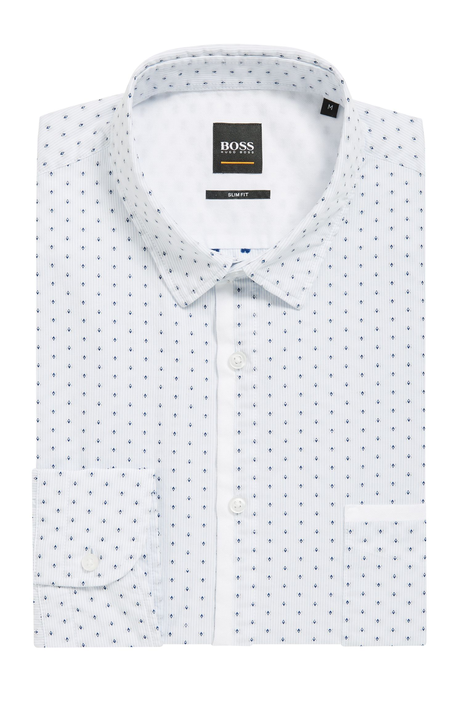 Slim-fit shirt in striped cotton with Oxford contrasts, Open Blue