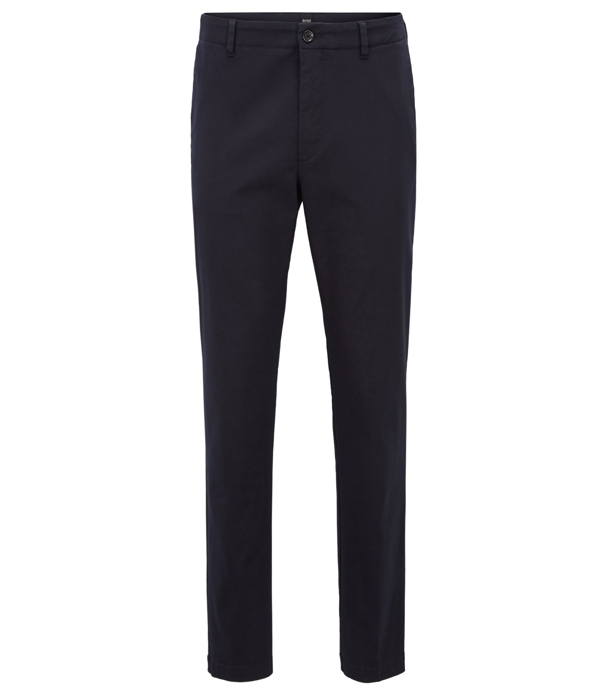 Slim-fit chinos with stripe-detail waistband, Open Blue