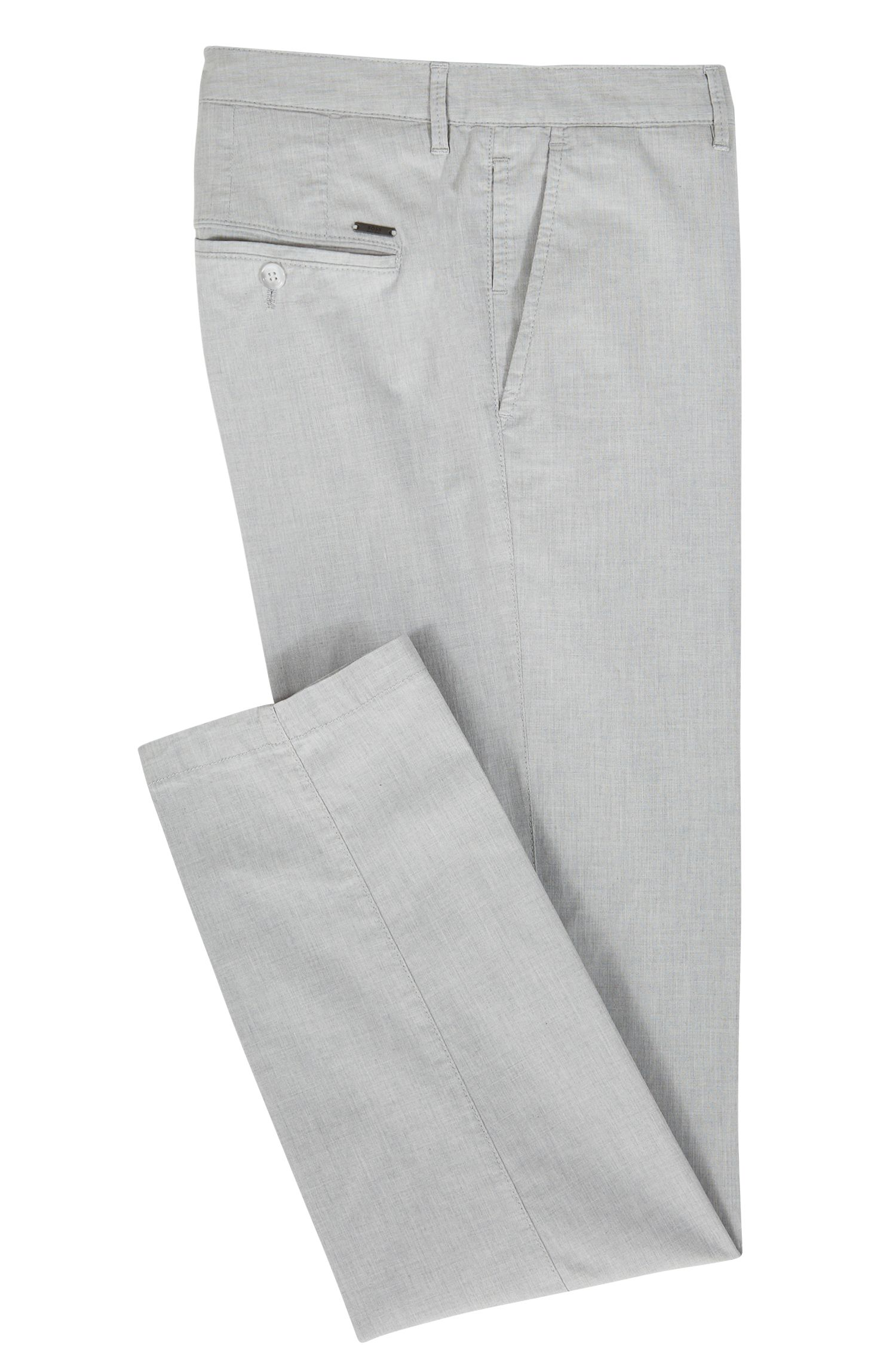 Regular-fit chinos in Italian melange stretch cotton, Open Grey