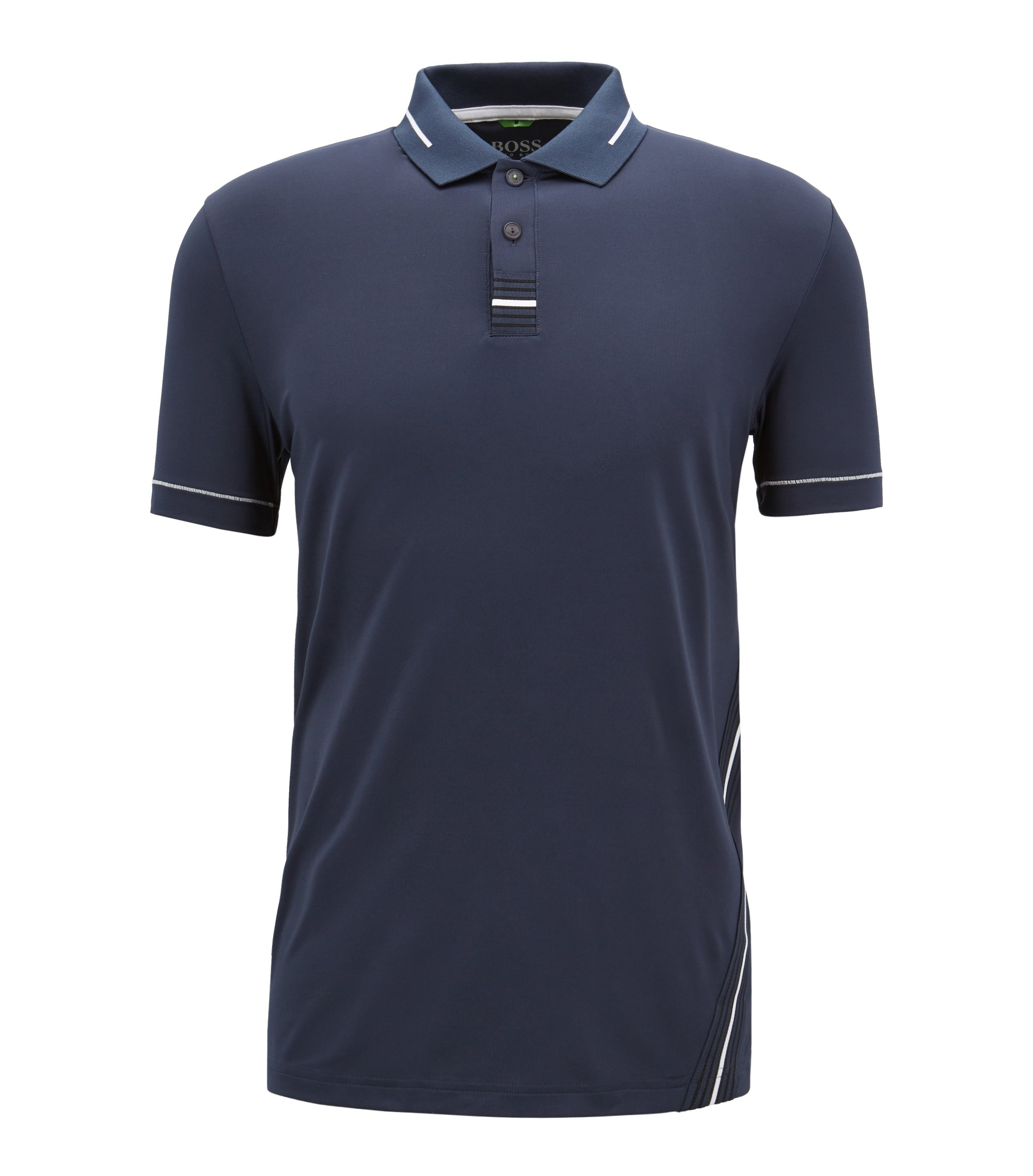 Slim-fit polo shirt with moisture management, Dark Blue
