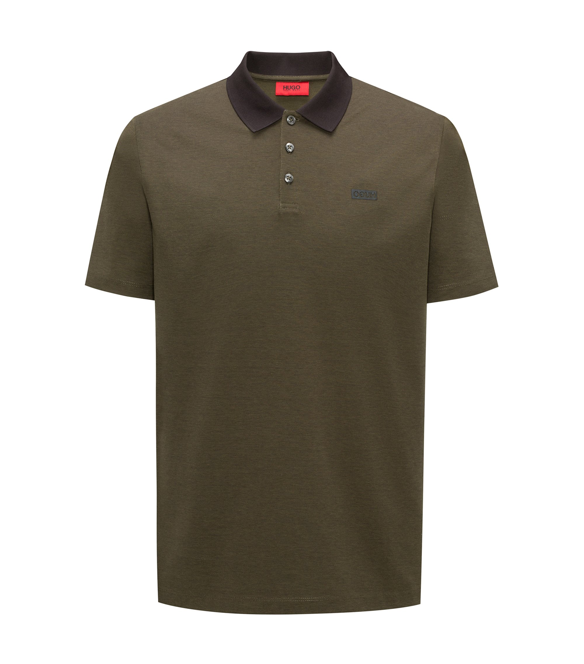 Polo shirt in Oxford cotton piqué with contrast collar, Dark Green