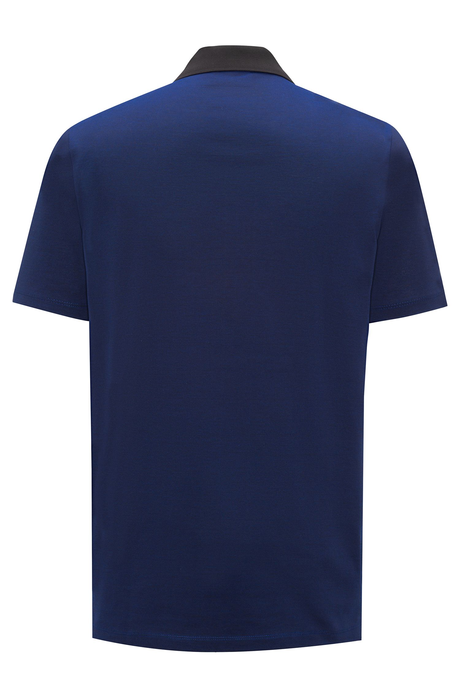 Polo shirt in Oxford cotton piqué with contrast collar, Dark Blue