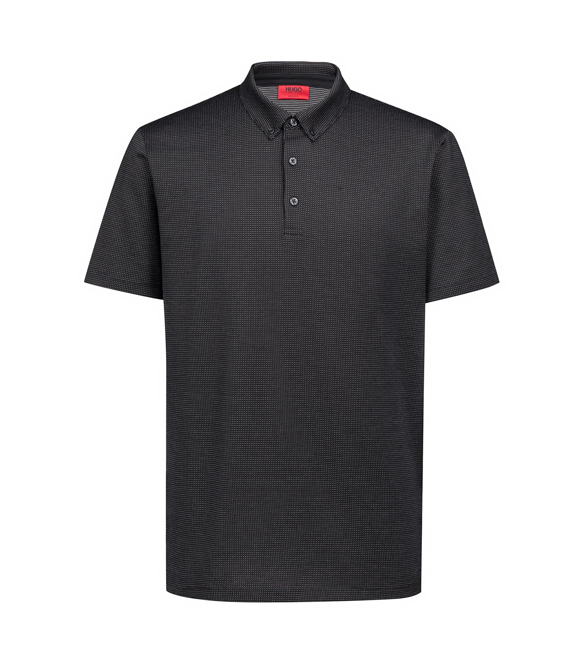 Regular-fit polo shirt in mercerized micro jacquard, Black