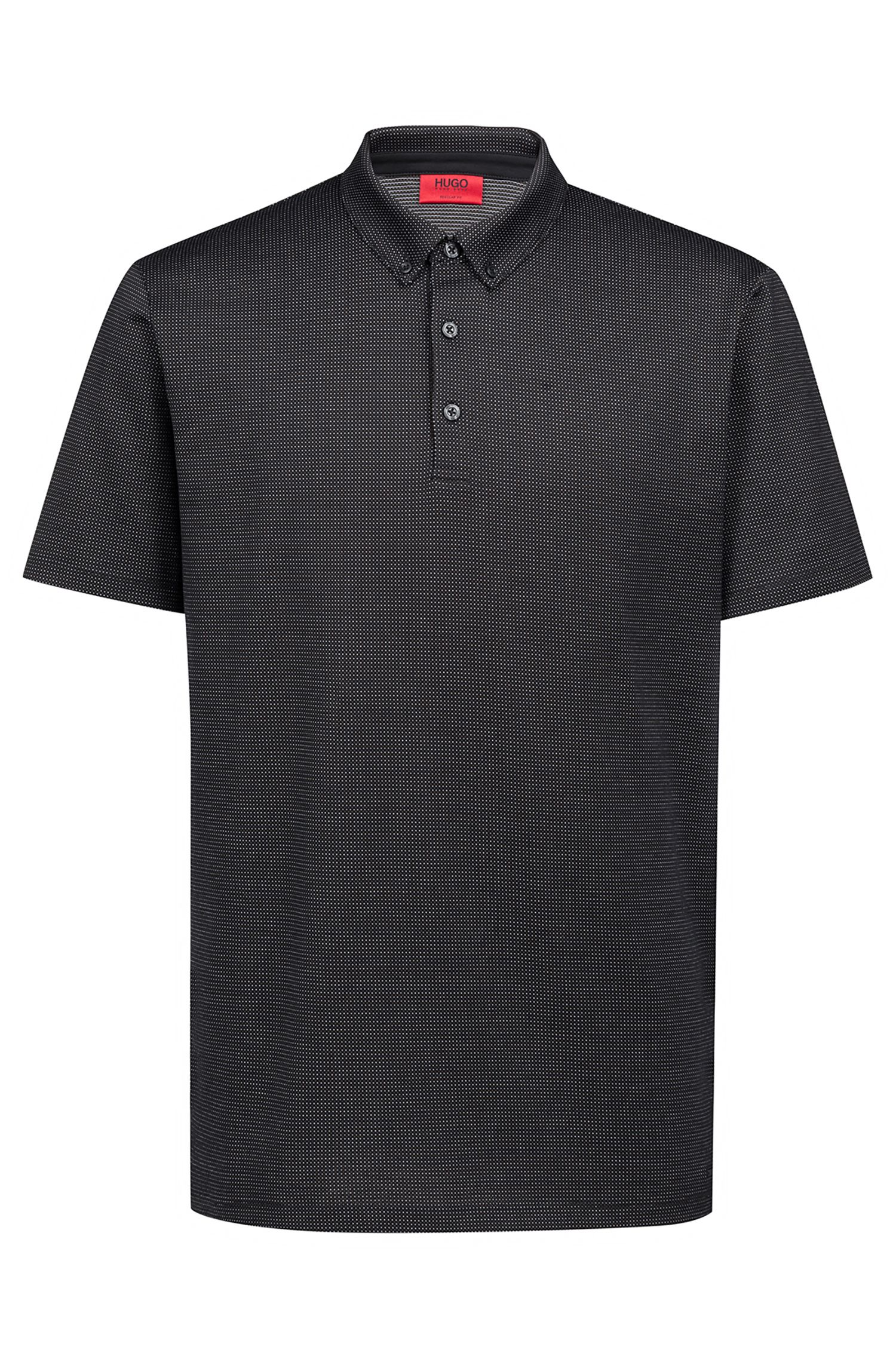 Regular-fit polo shirt in mercerized micro jacquard