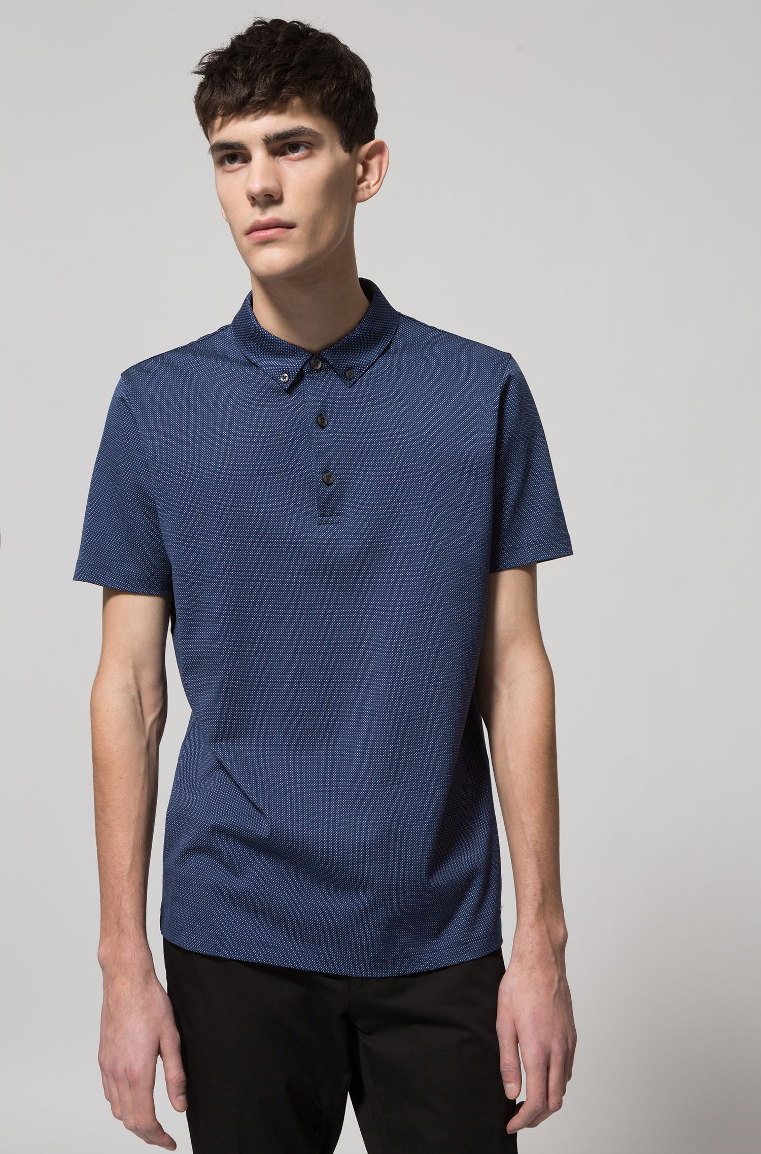 Regular-fit polo shirt in mercerized micro jacquard, Dark Blue